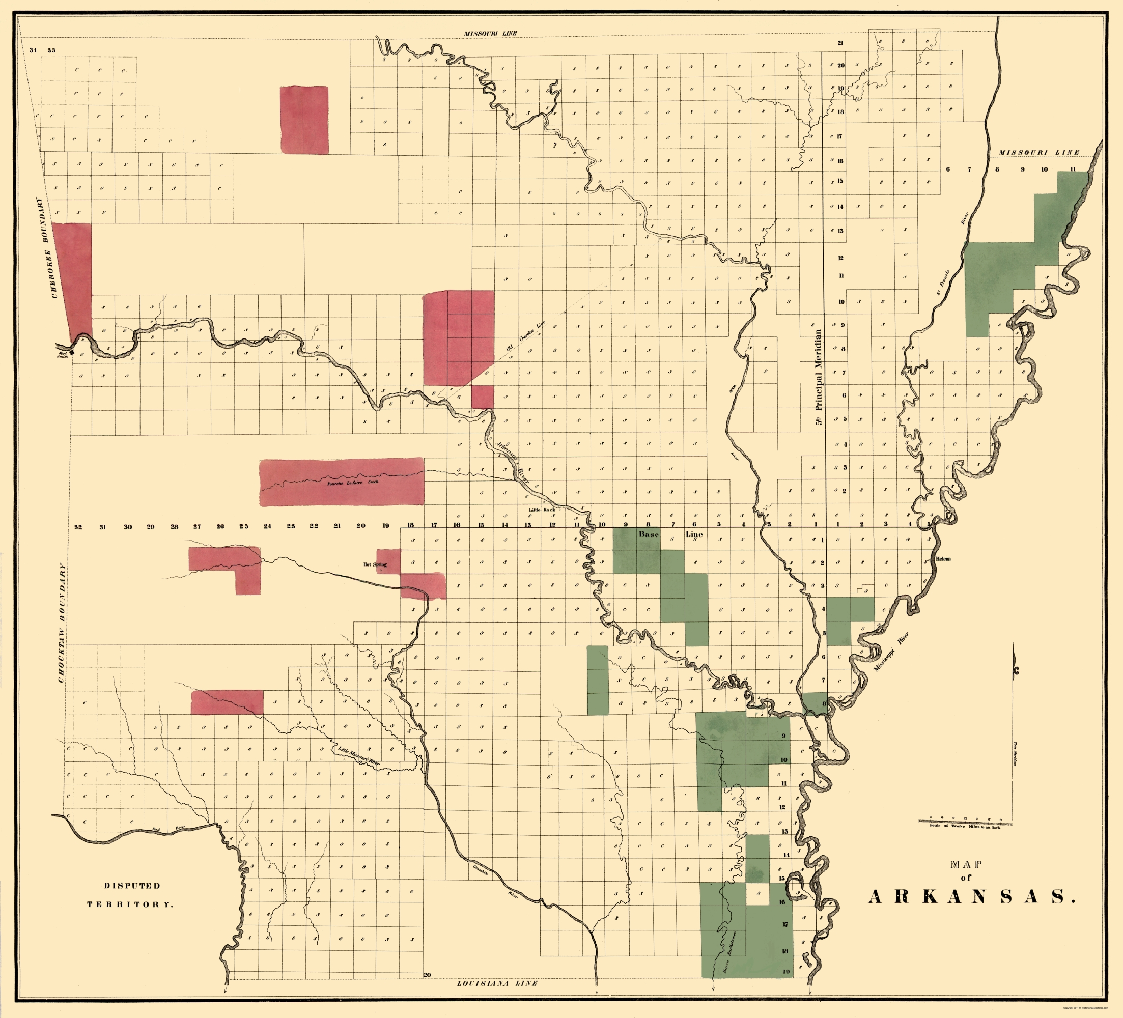 graphic about Printable Map of Arkansas known as Outdated Country Map - Arkansas - 1834 - 23 x 25.37