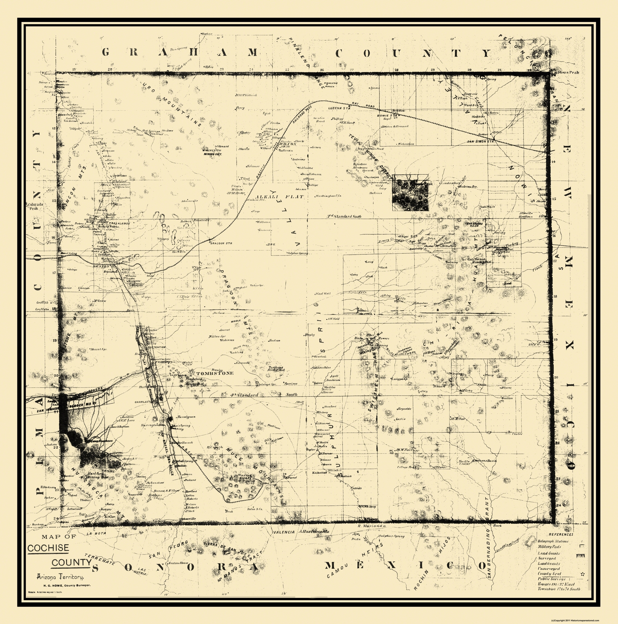 Map Of Old Arizona.Old Arizona County Map Prints Maps Of The Past