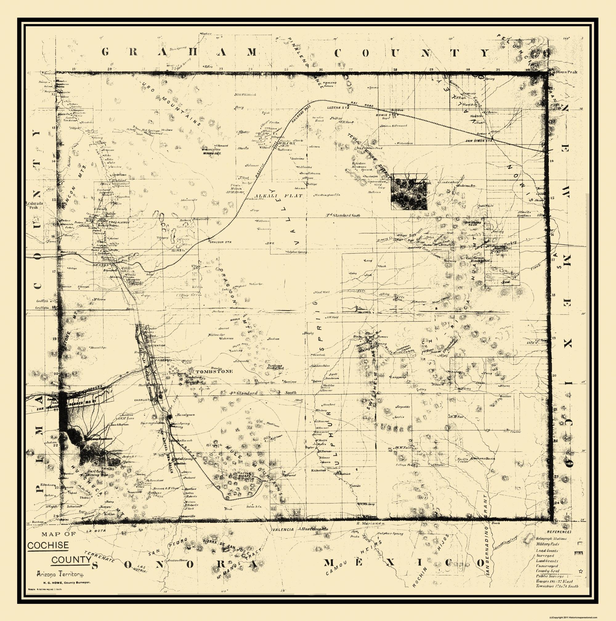 Map Of Arizona 1880.Old County Map Cochise Arizona 1890 23 X 23 19
