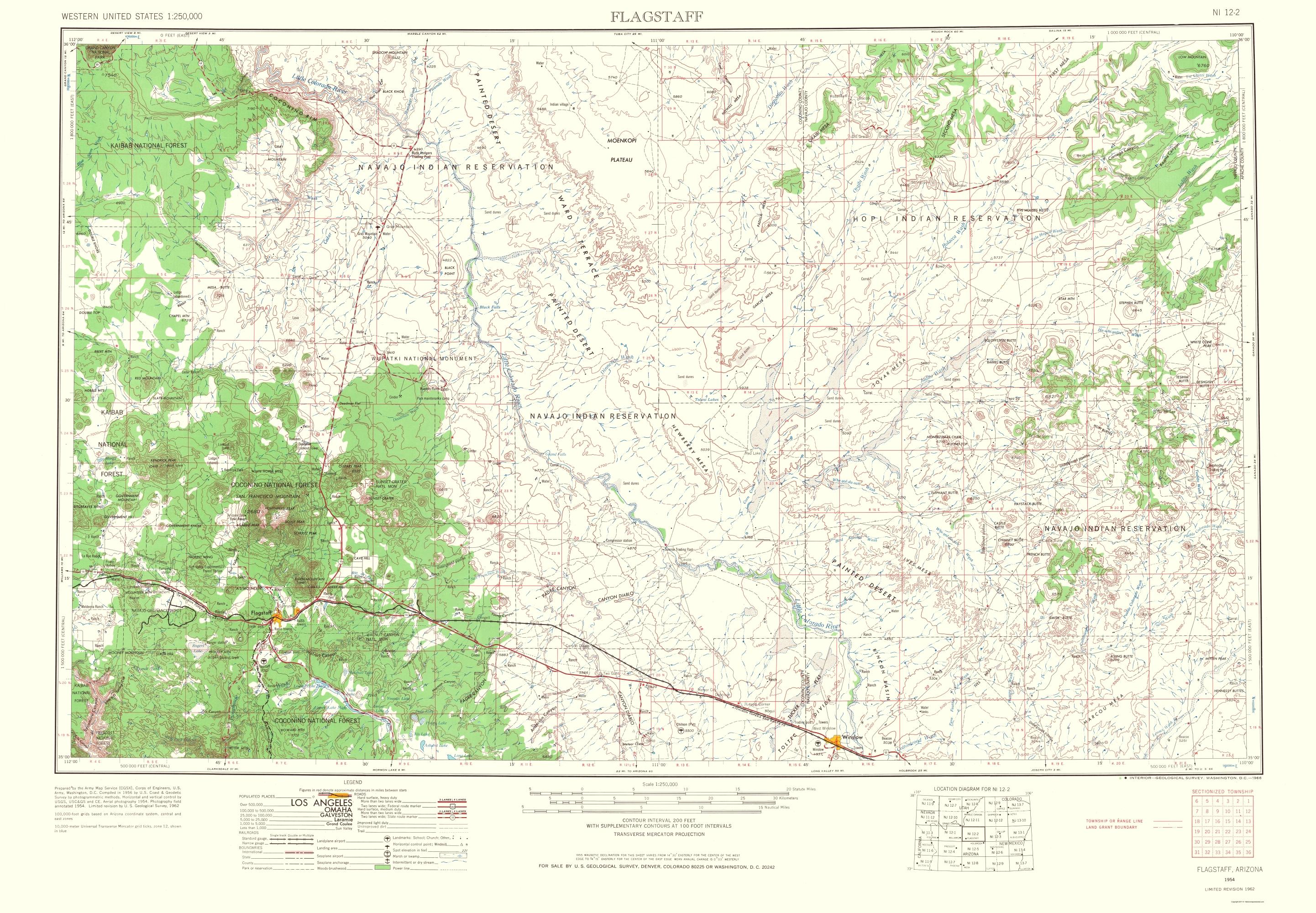 Old Topographical Map Flagstaff Arizona 1966