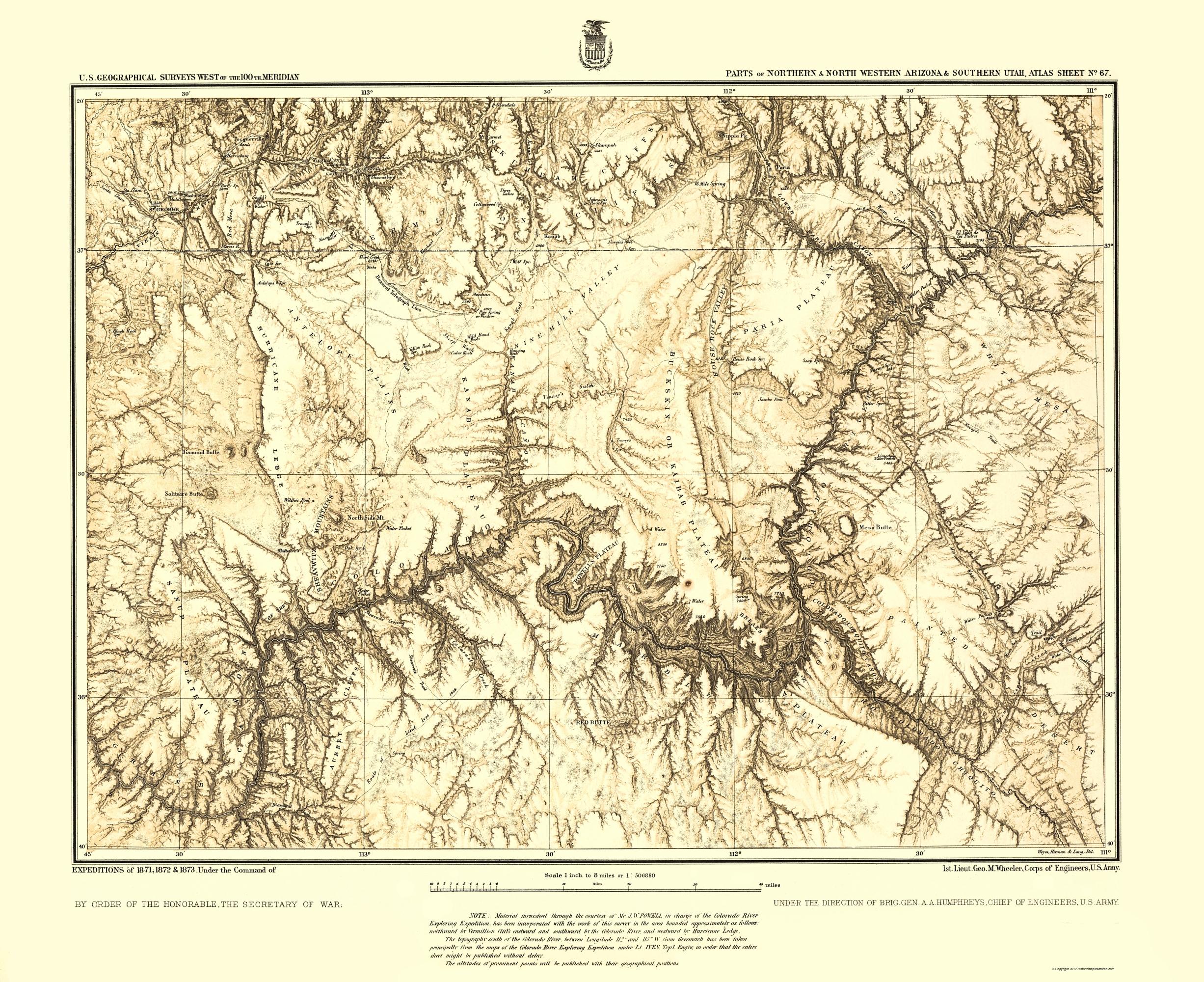 Old Topographical Map - Arizona, Utah Arizona, Utah 1873