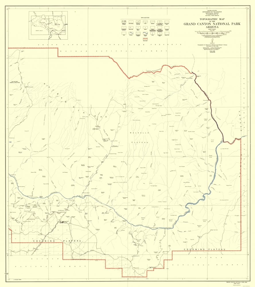Topographic Map Grand Canyon.Topographical Map Grand Canyon East Half Arizona 1927