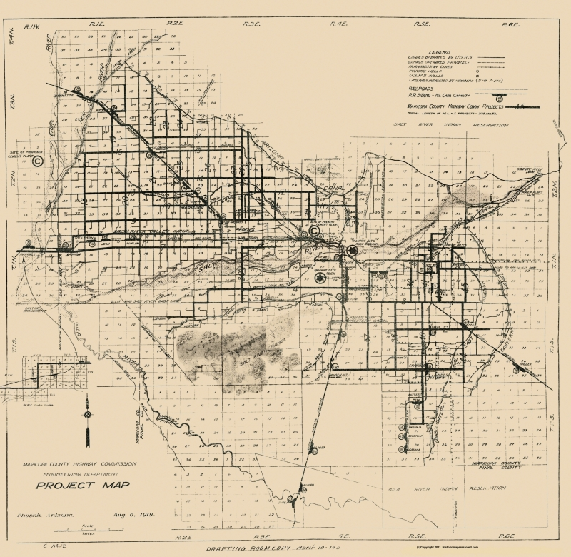 Old County Map - Maricopa Arizona Hwy Project - 1919 - 23.56 x 23