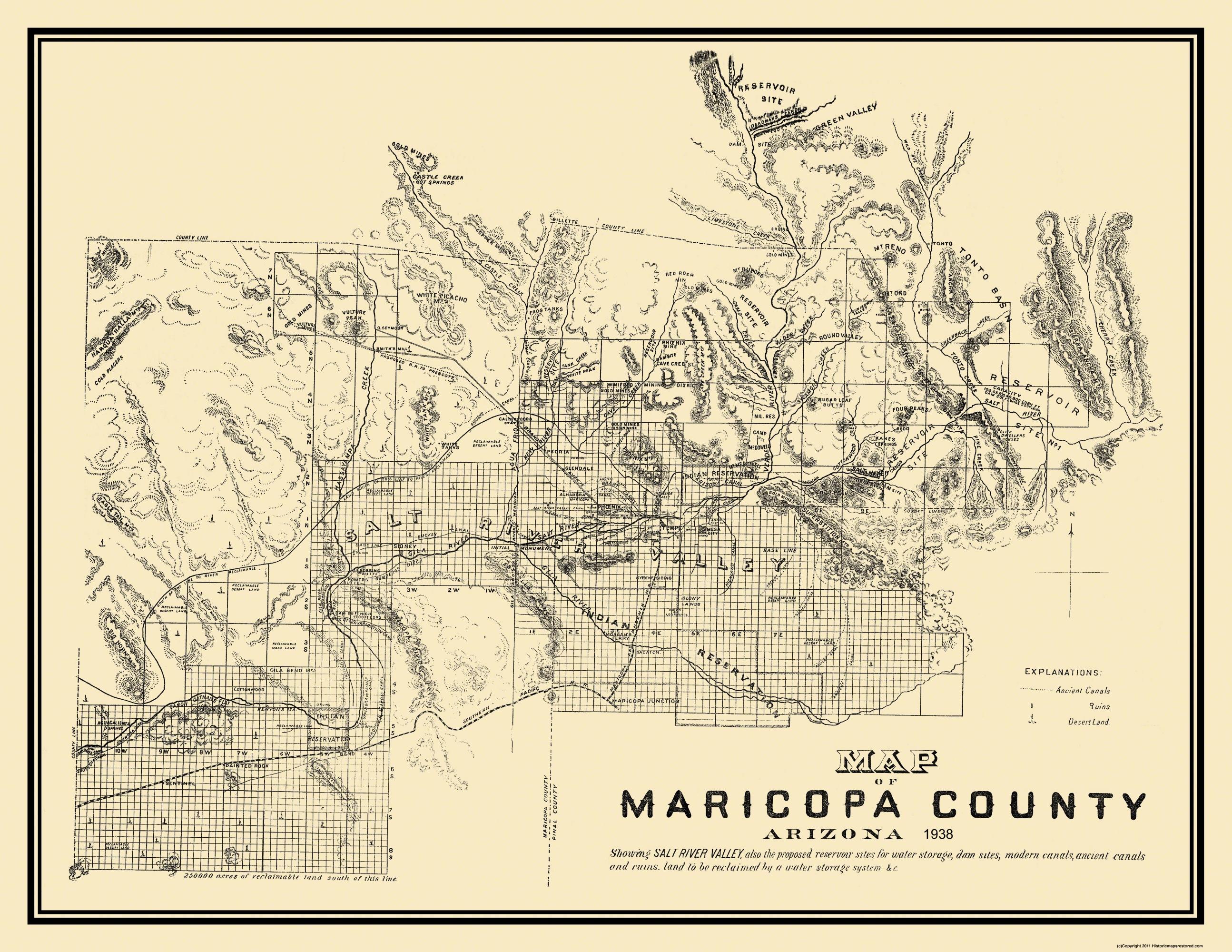 Map Of Old Arizona.Old County Map Maricopa Arizona 1938 29 75 X 23