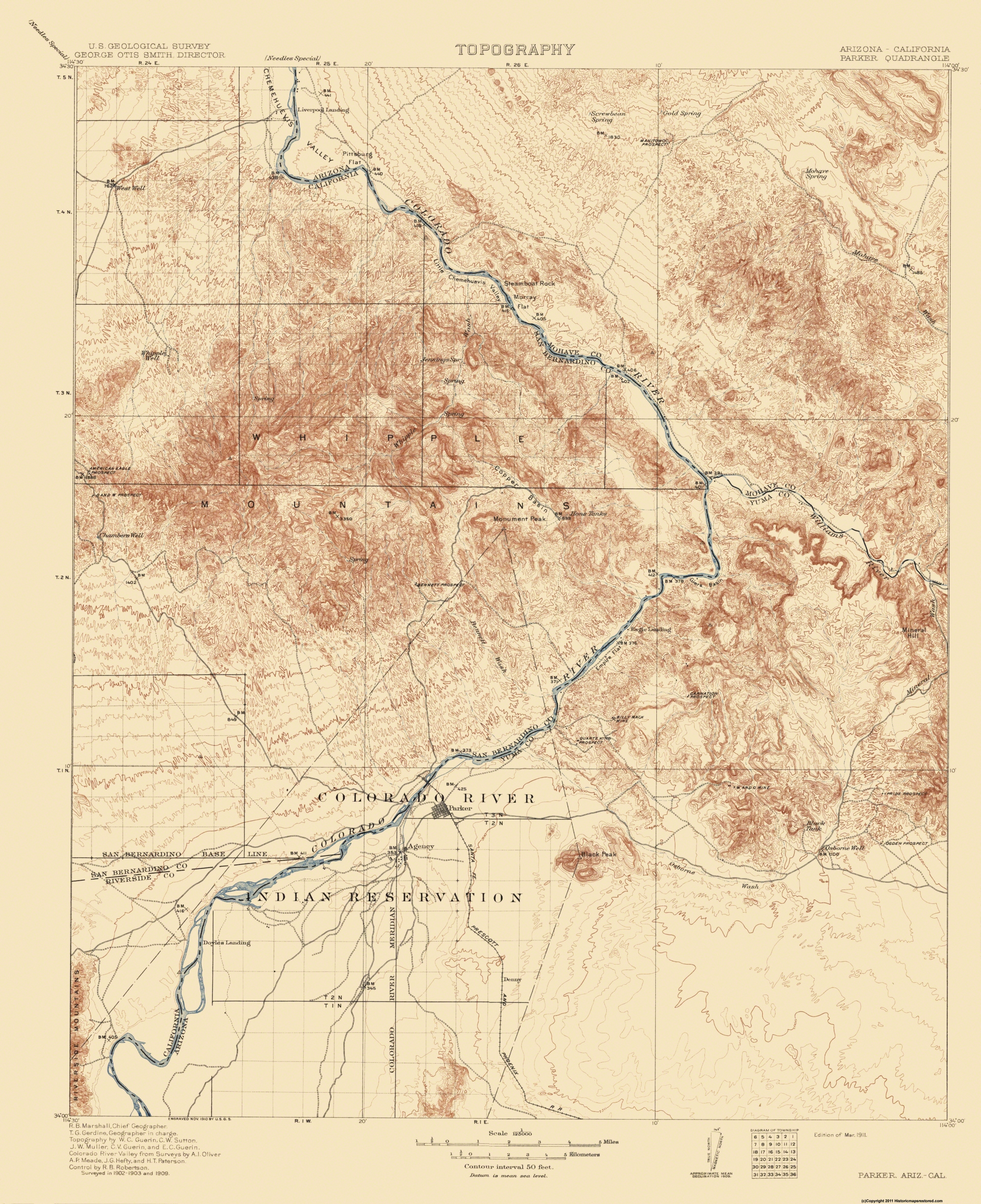 Old Topographical Map - Parker Arizona, California 1911
