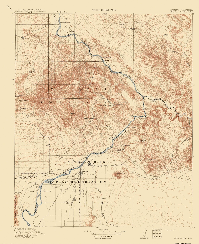 Topographical Map Print - Parker Arizona, California - USGS 1911 - 23 x  28.25