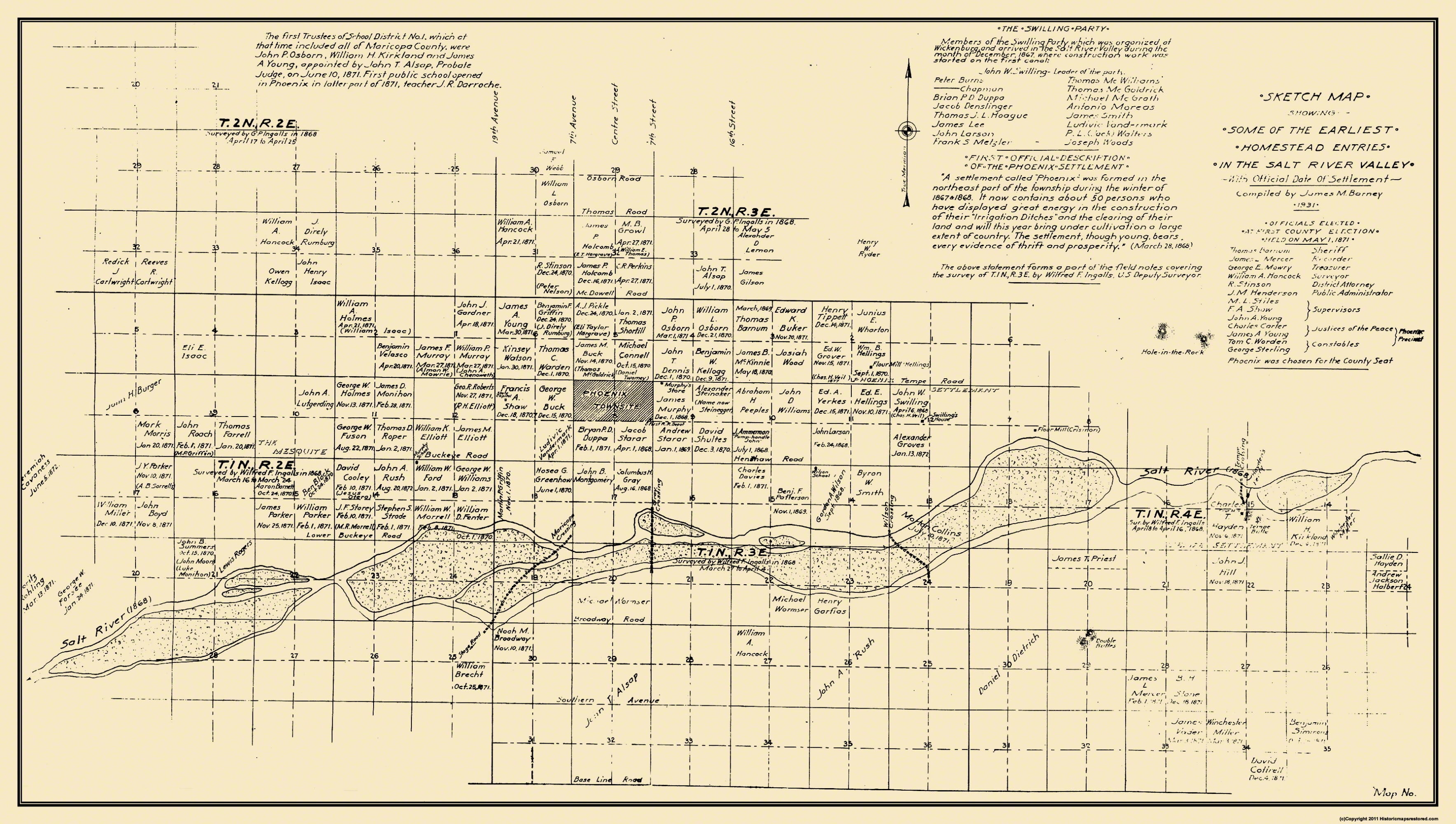 A Map Of Phoenix Arizona.Old City Map Phoenix Arizona 1867