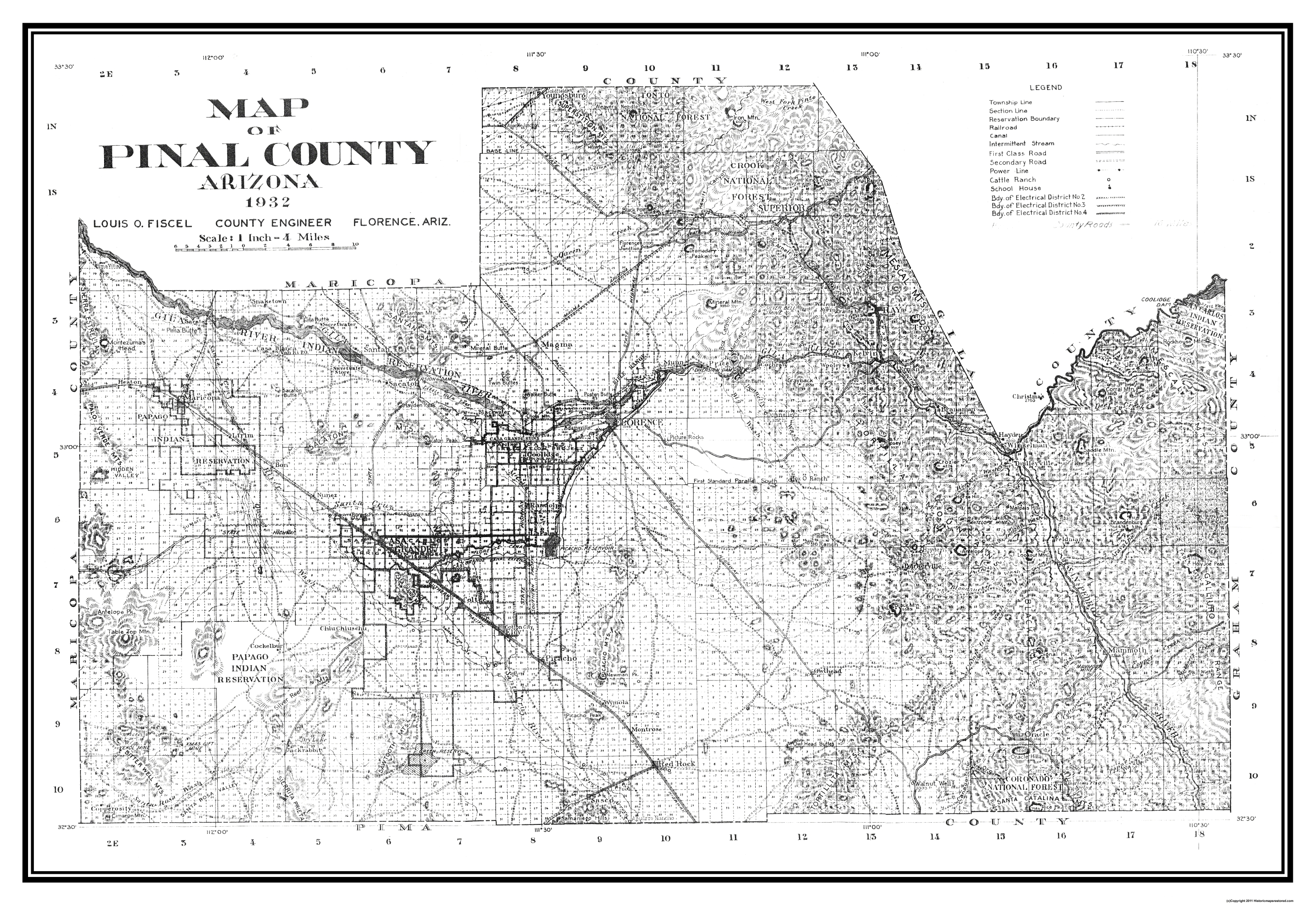 Old County Map   Pinal Arizona   1932