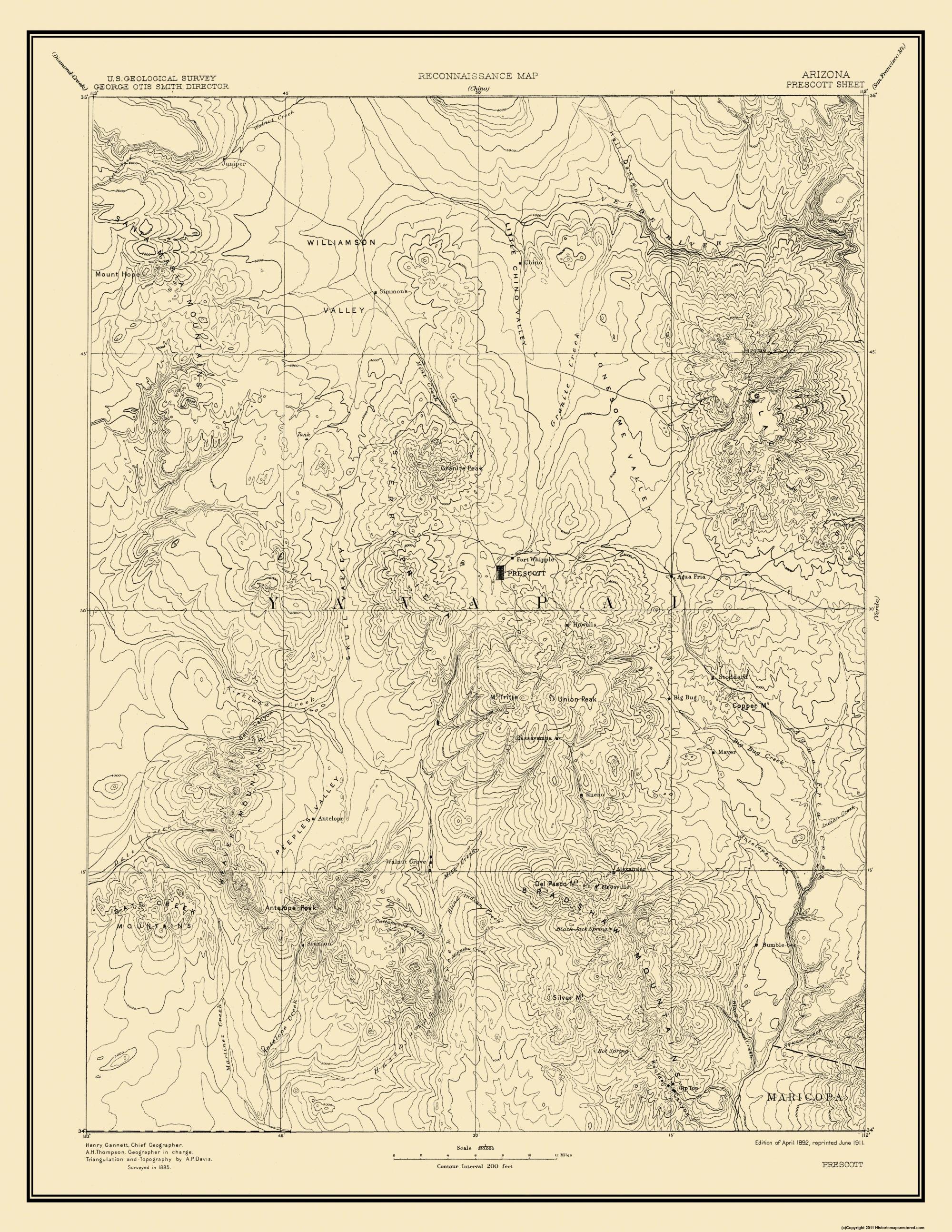 Old Topographical Map Prescott Arizona 1892