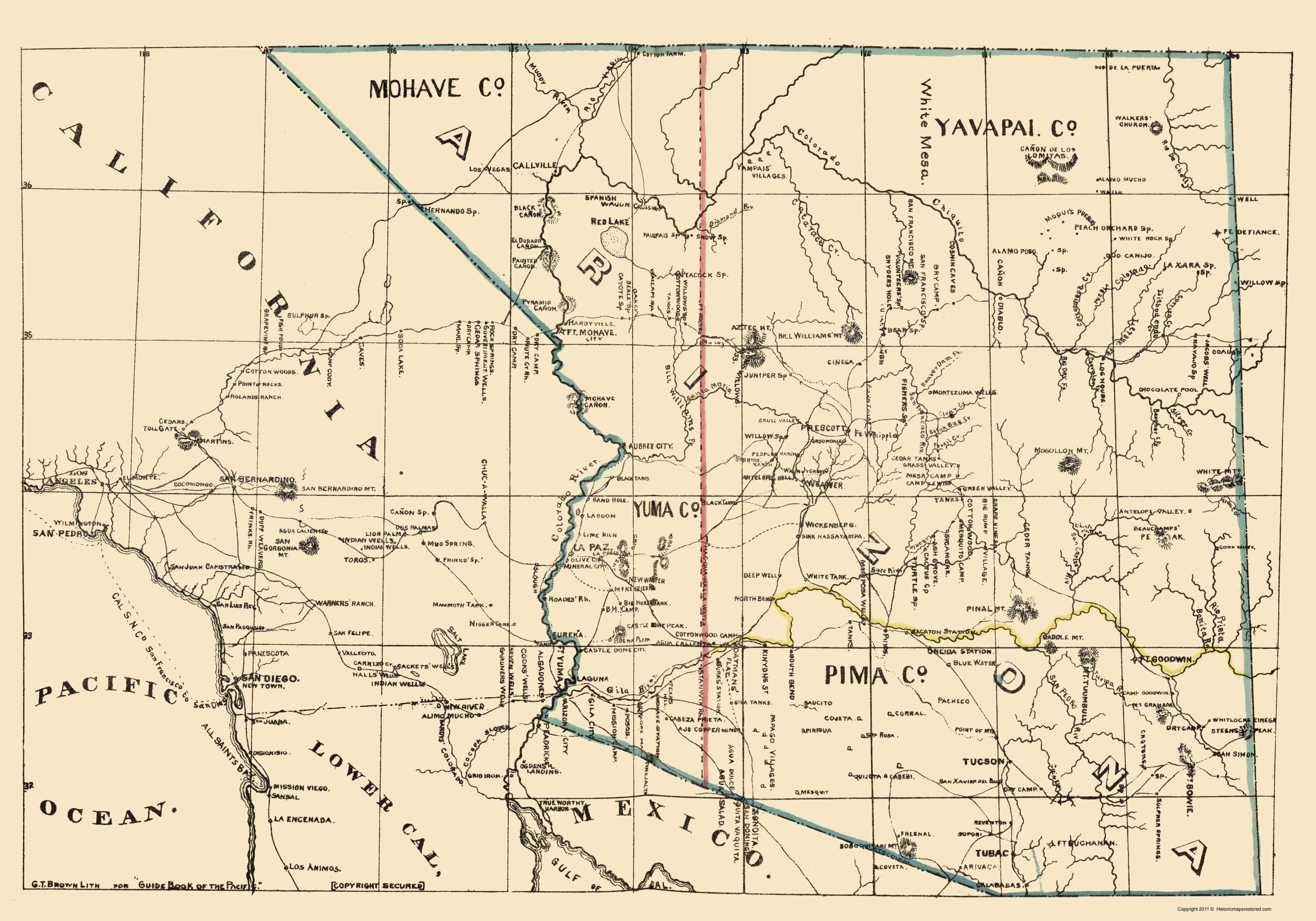 Old State Map - Arizona, California - Brown 1866