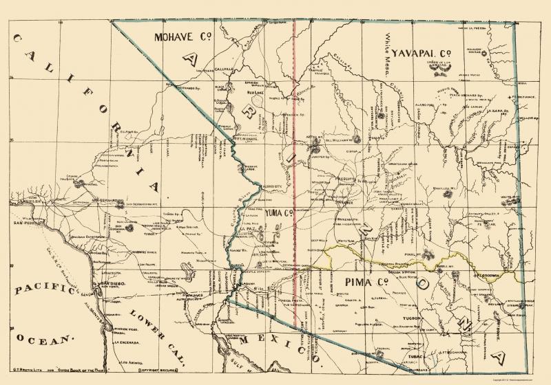 Map Of Arizona California.Old State Map Arizona California Brown 1866 23 X 32 84