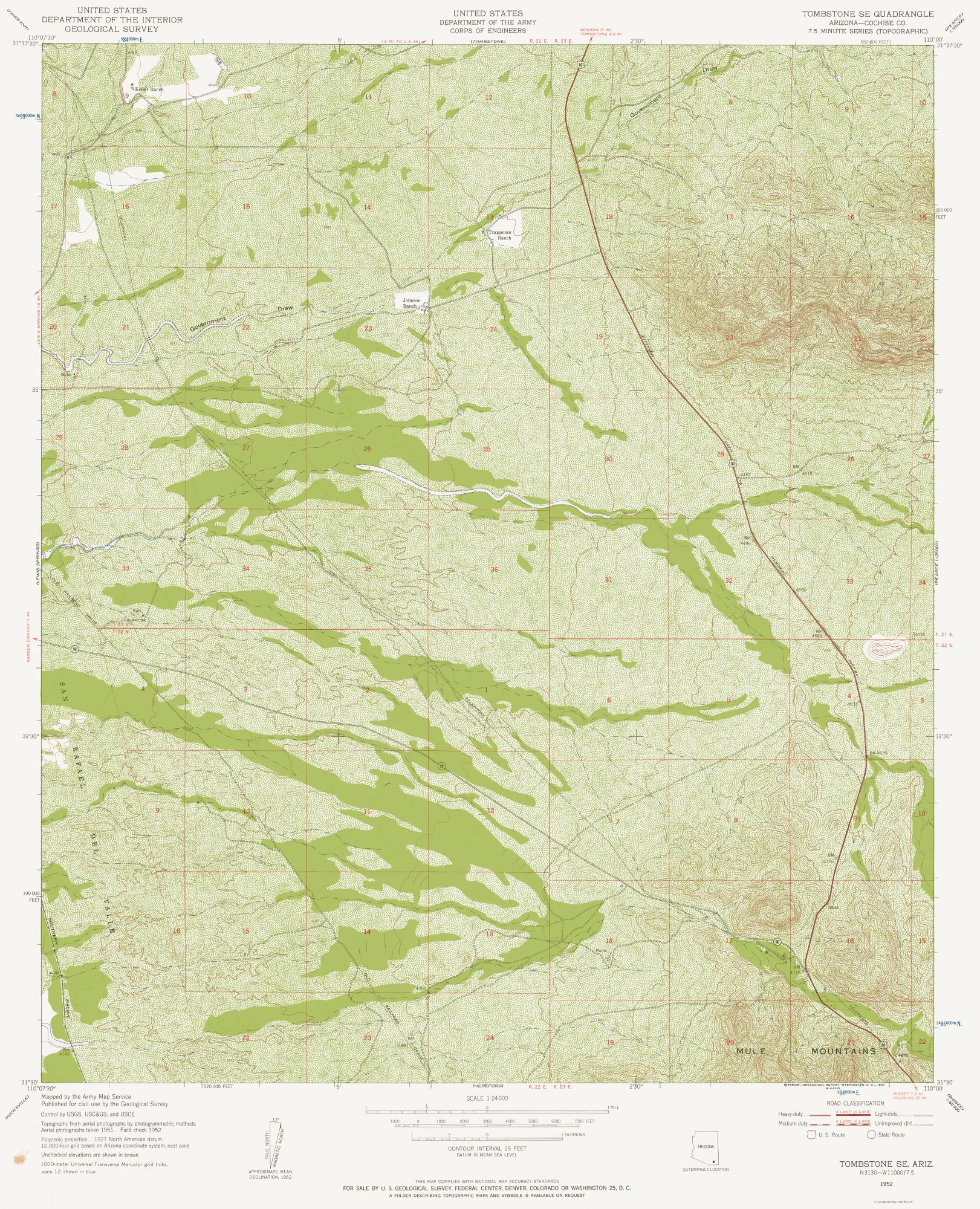 Map Of South Arizona.Historical Topographical Maps South East Tombstone Arizona Quad