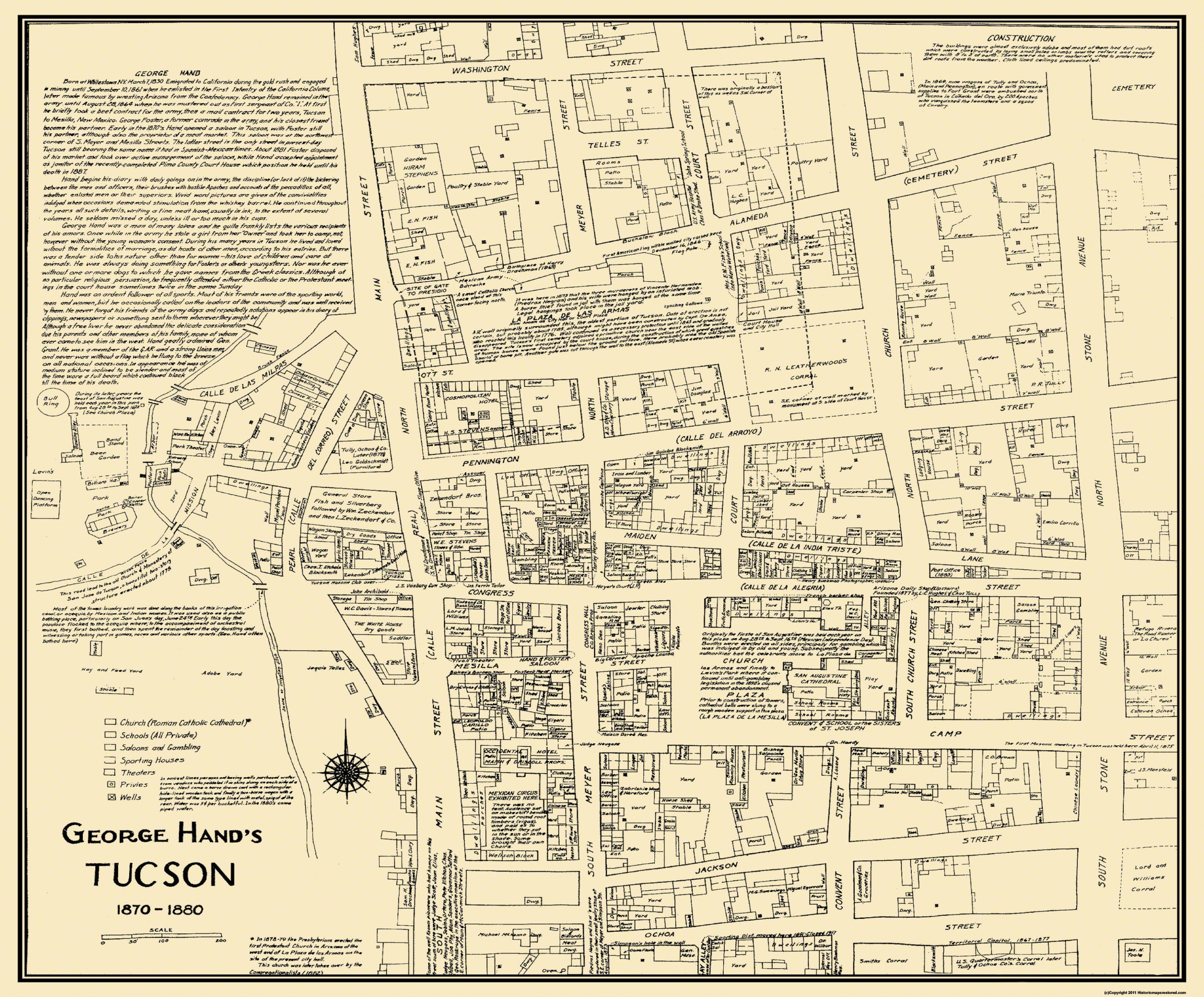 Old City Map - Tucson Arizona Landowner - 1870