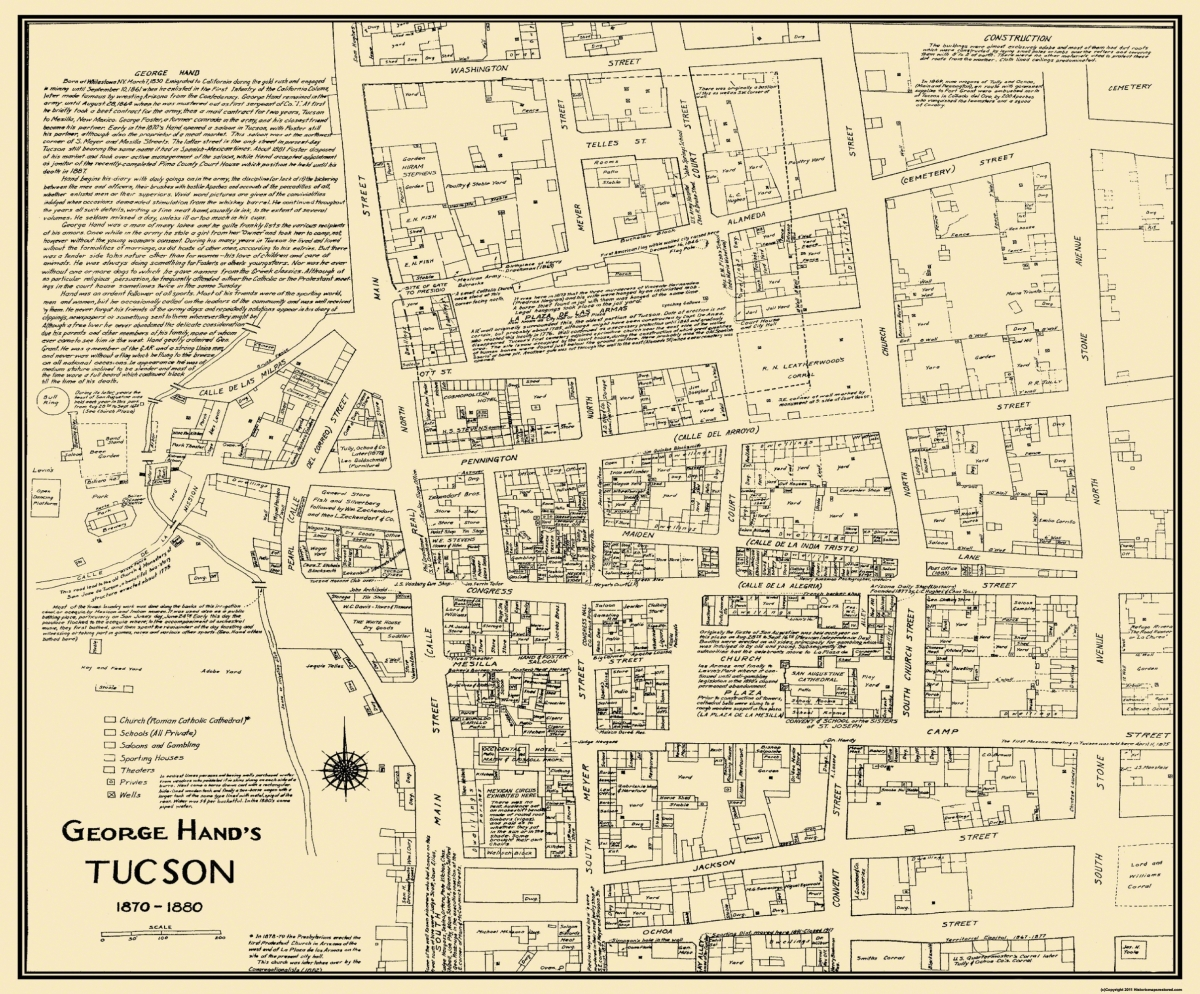 Old City Map - Tucson Arizona Landowner - 1870