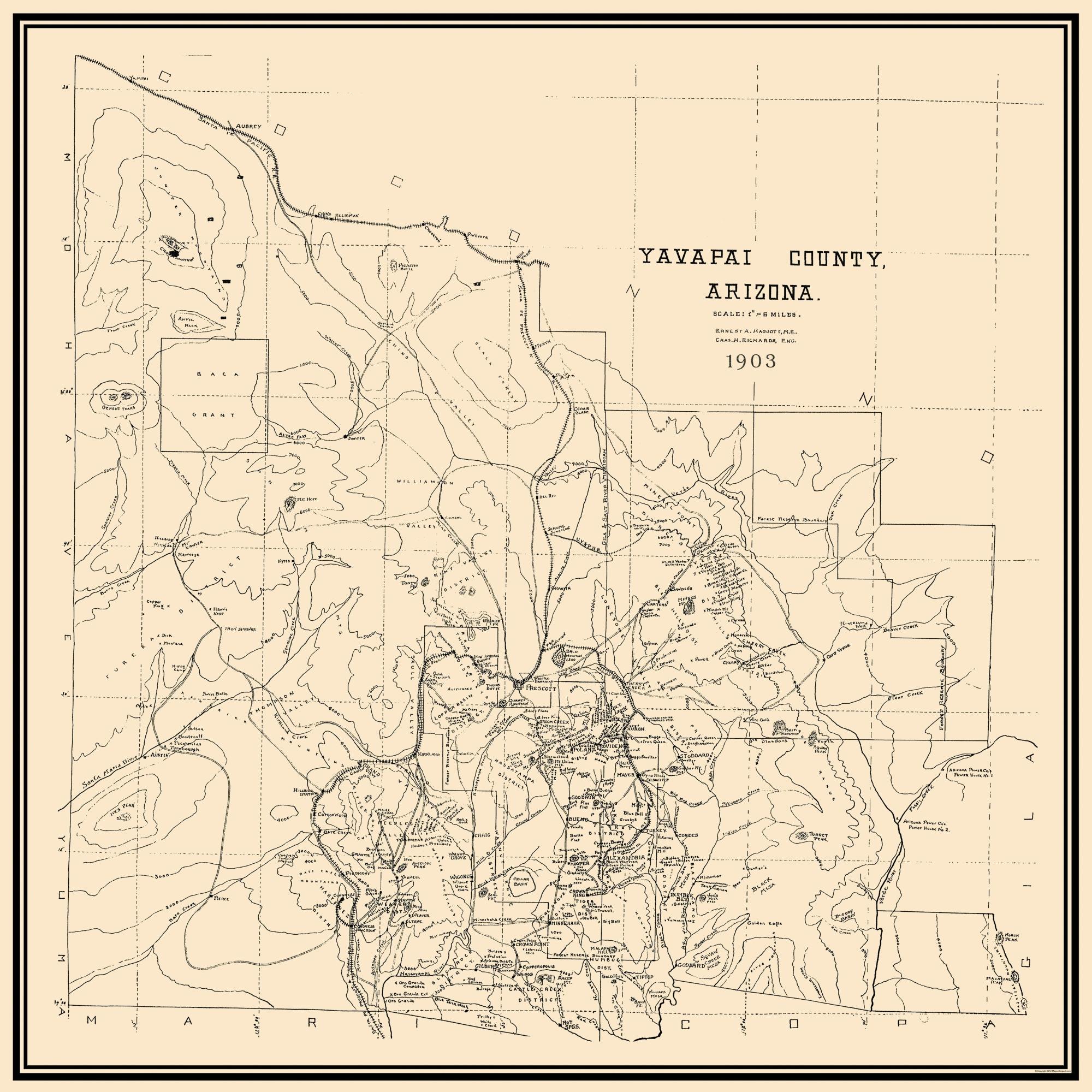 Map Of Old Arizona.Old County Map Yavapai Arizona 1903 23 X 23
