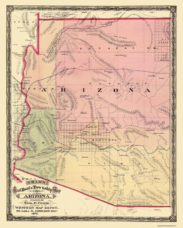 Map Of State Of Arizona.Old State Map Arizona Cram 1875 23 X 28 63