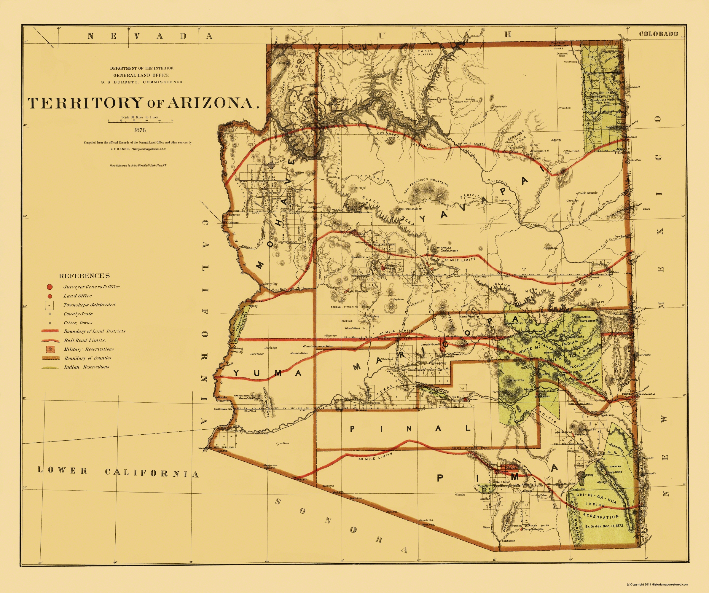 Old Map Arizona Territory - Arizona map with cities and towns