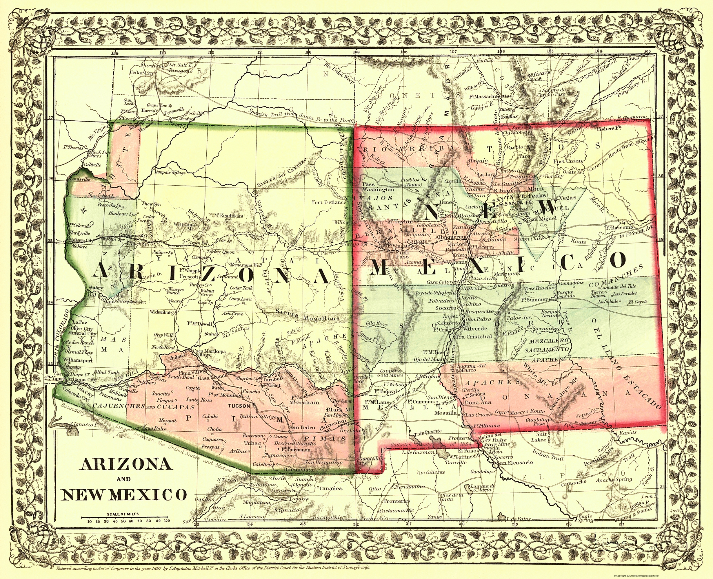 Arizona New Mexico Map Old State Map   Arizona, New Mexico   Mitchell 1867