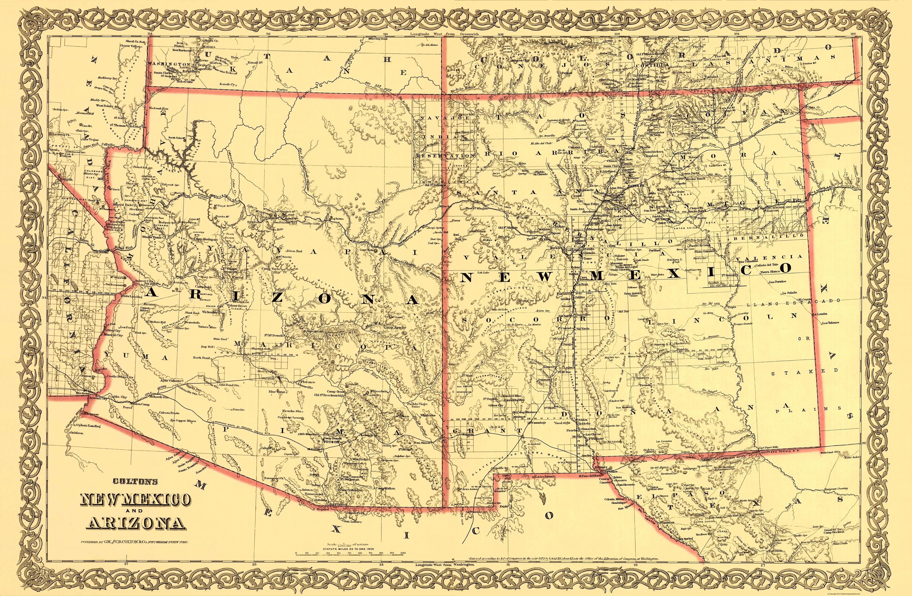 Old State Map - Arizona New Mexico - Colton 1873 - 23 x 35.19