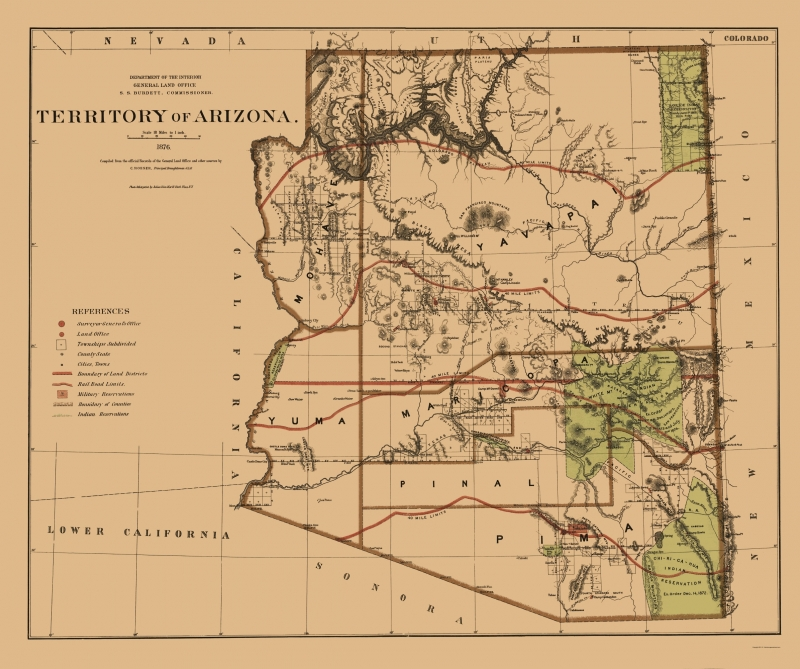 Map Of Old Arizona.Old State Map Arizona Territory General Land Office 1876 23 X 27 50