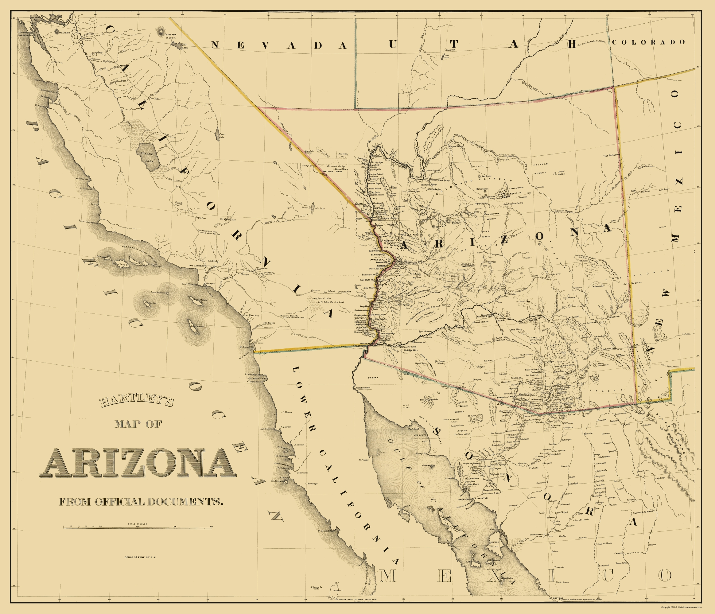Old State Map - Arizona - Hartley 1863