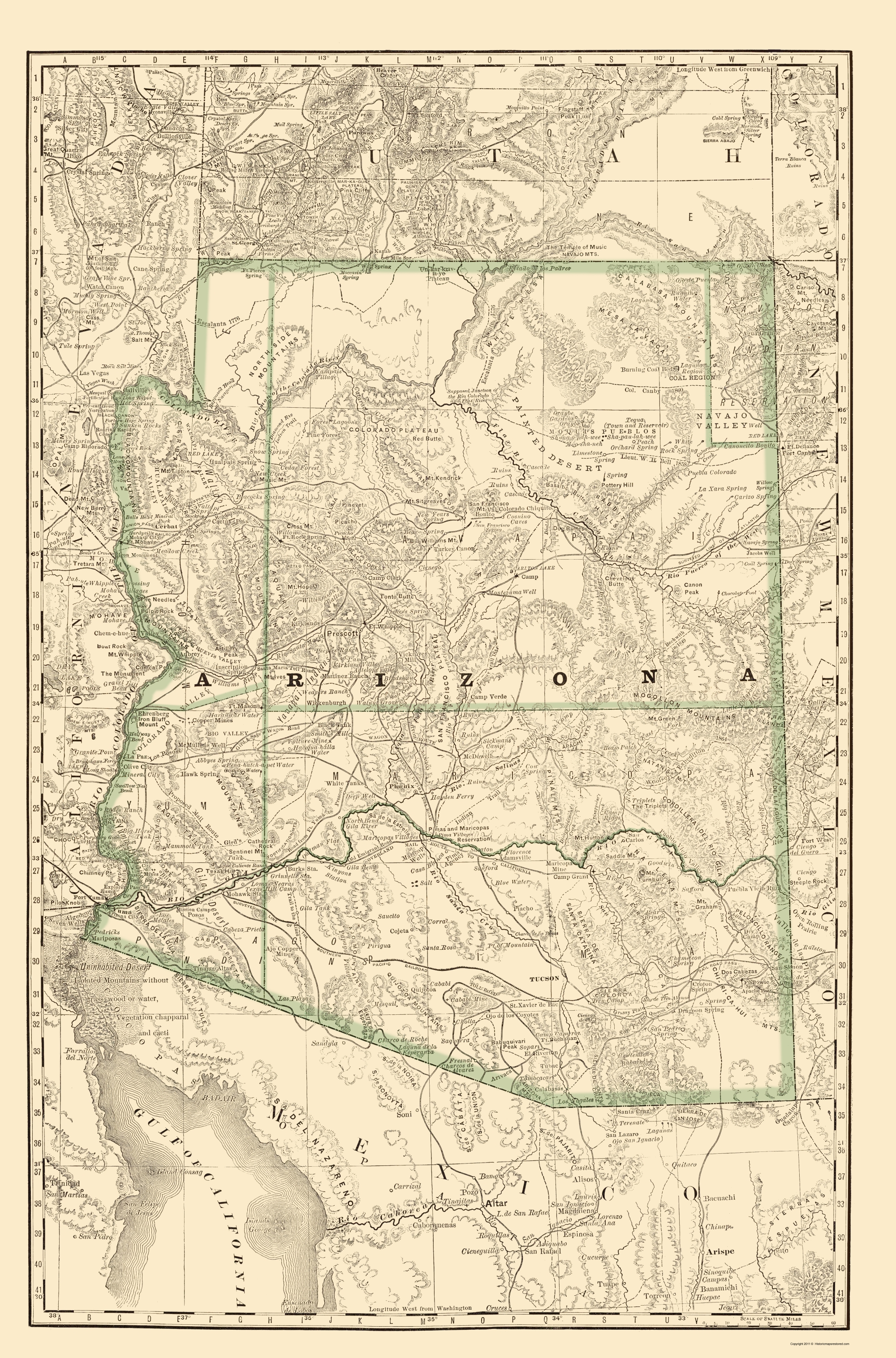 Old State Map - Arizona - Rand McNally 1879 - 23 x 34.85 on map north tucson az, zoom tucson tucson az map, mapquest tucson az, area code map tucson az, map okc to tucson az, printable street map tucson az,