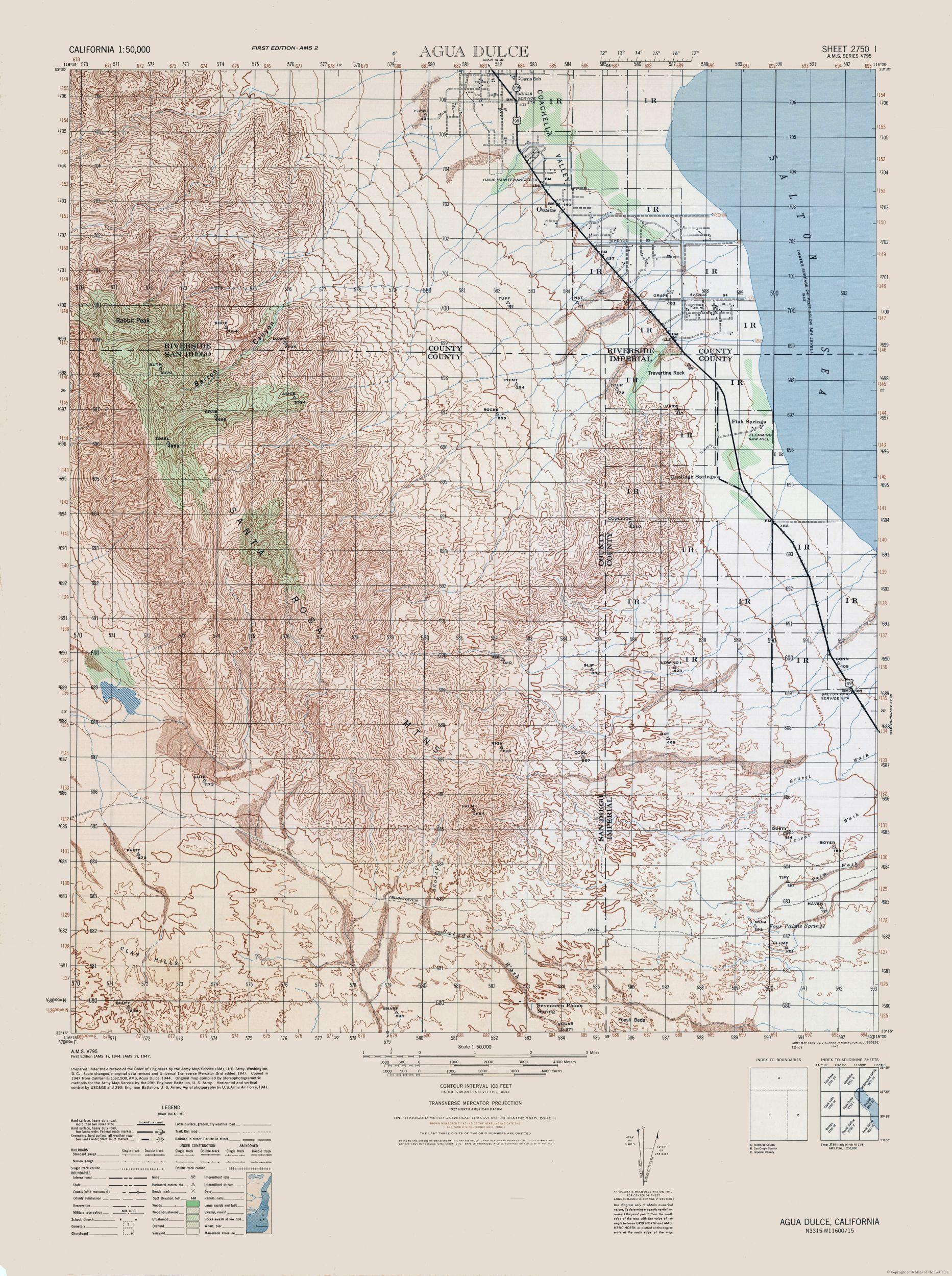 Agua Dulce California Map.Historical Topographical Maps Agua Dulce Sheet Army 1944 23 X