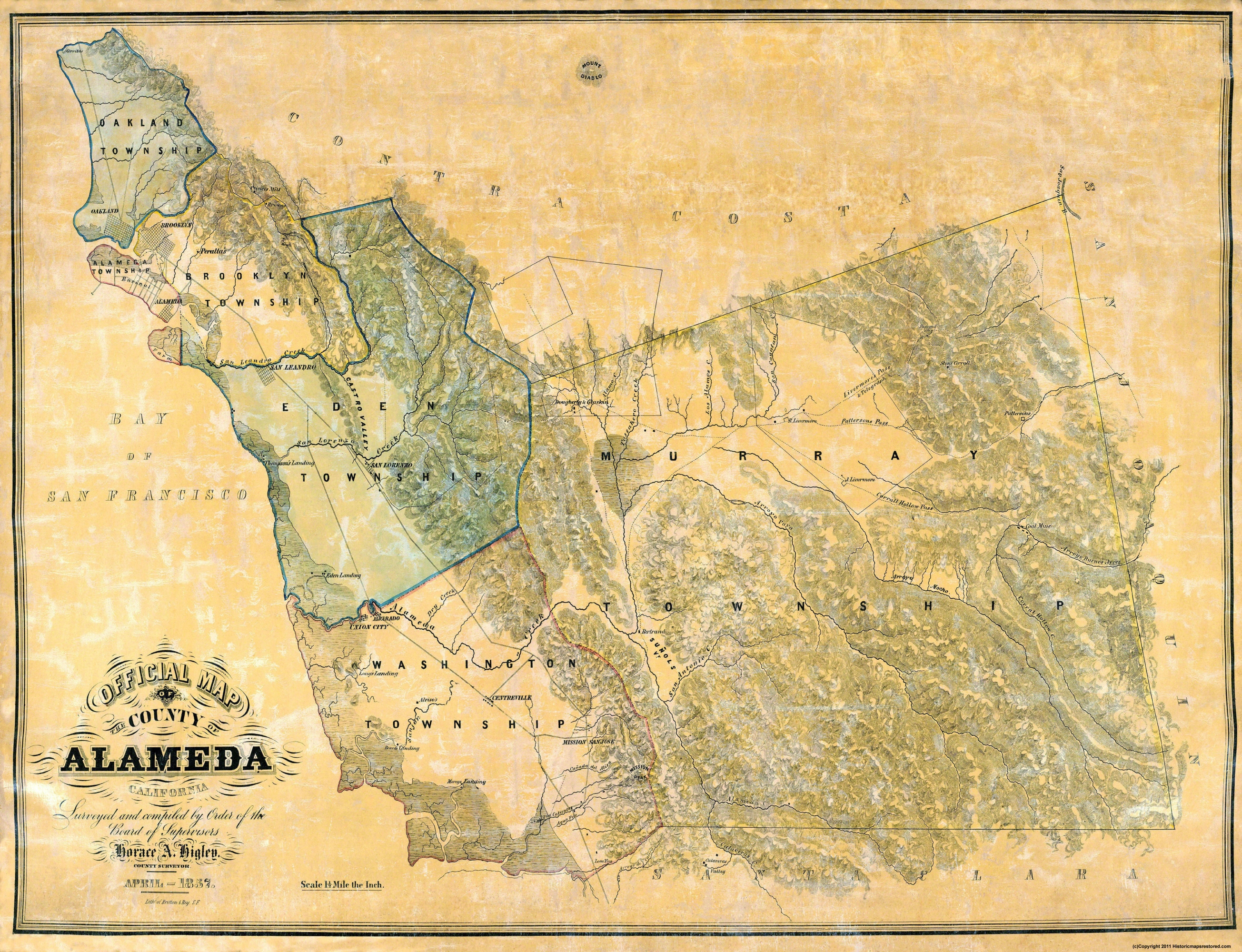 Old County Map Alameda California 1857