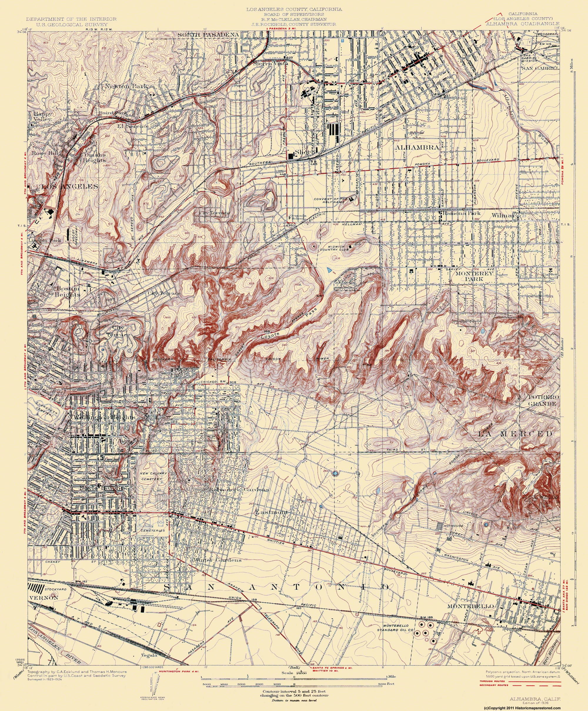 Old Topographical Map - Alhambra California 1926