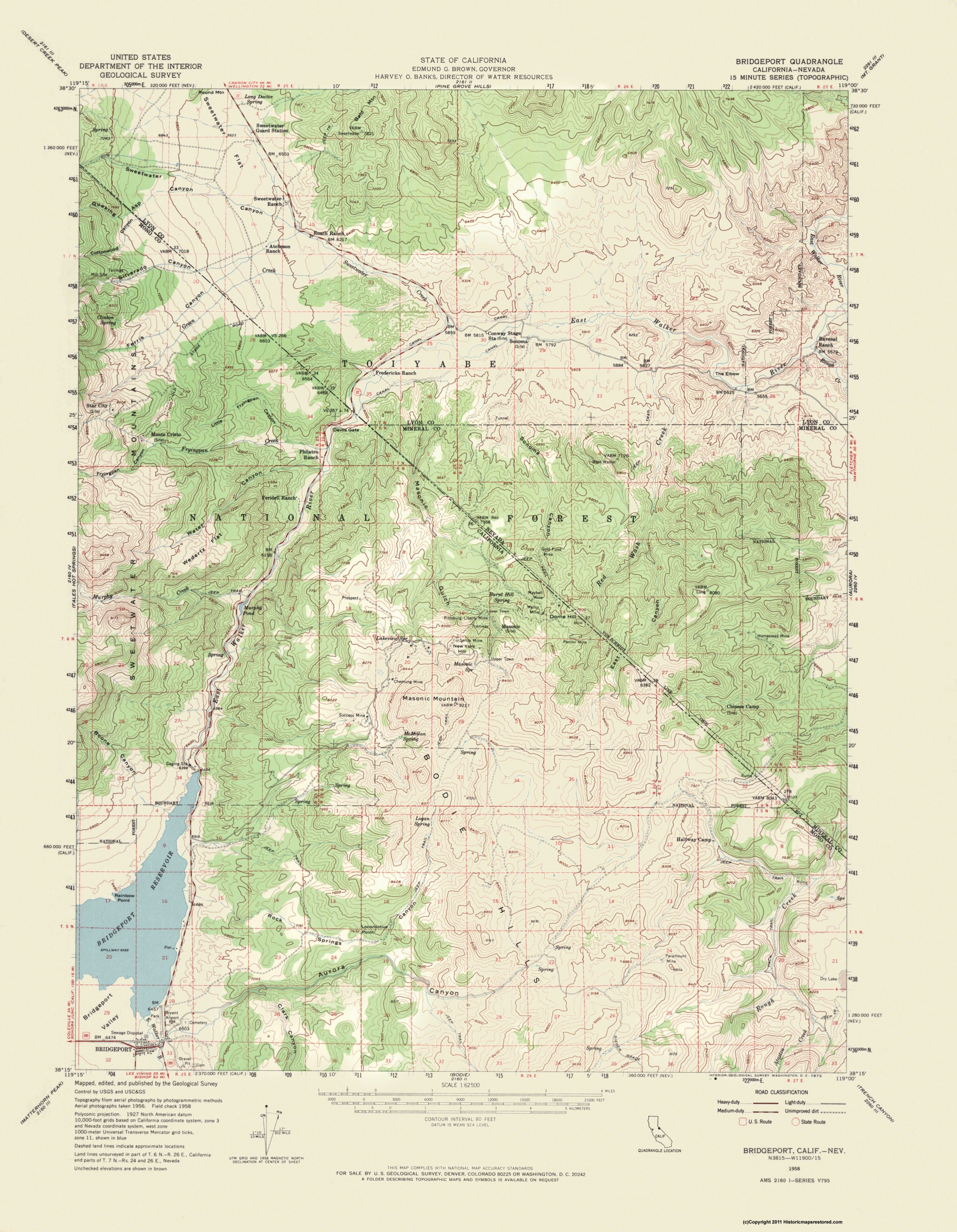 Old Topographical Map Bridgeport Nevada 1958