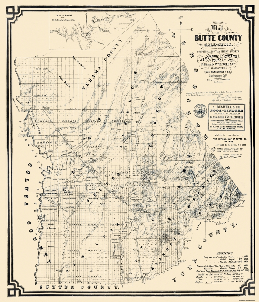 Old County Map Butte California Landowner Cooke - Butte county map