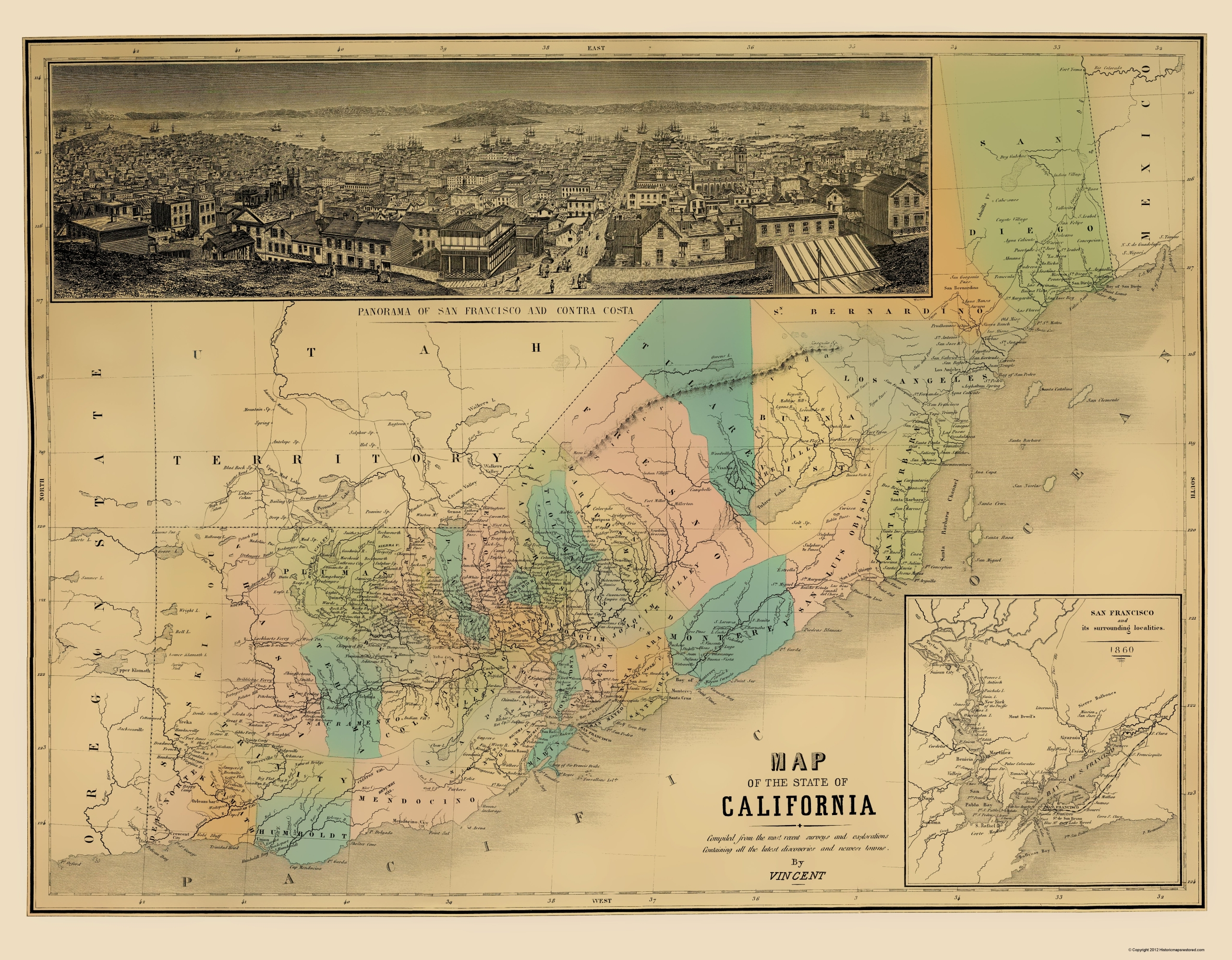 Old Map California Vincent 1860