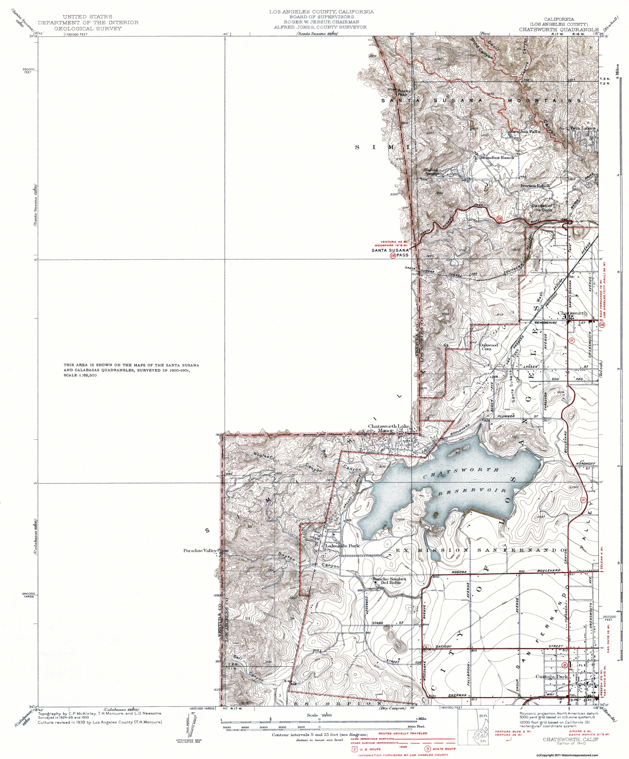 Old Topographical Map - Chatsworth California 1940 on