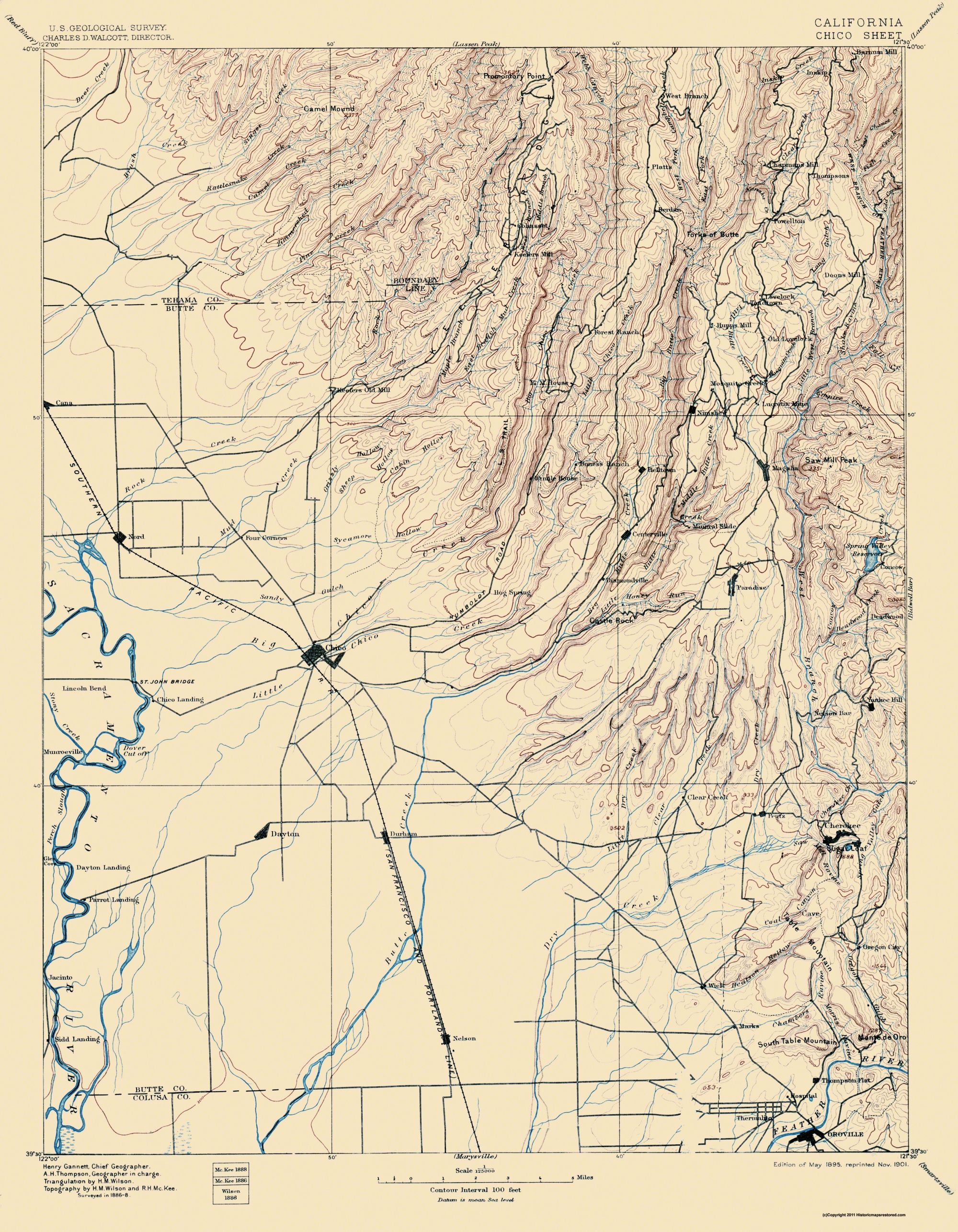 Old Topographical Map - Chico California 1895 on