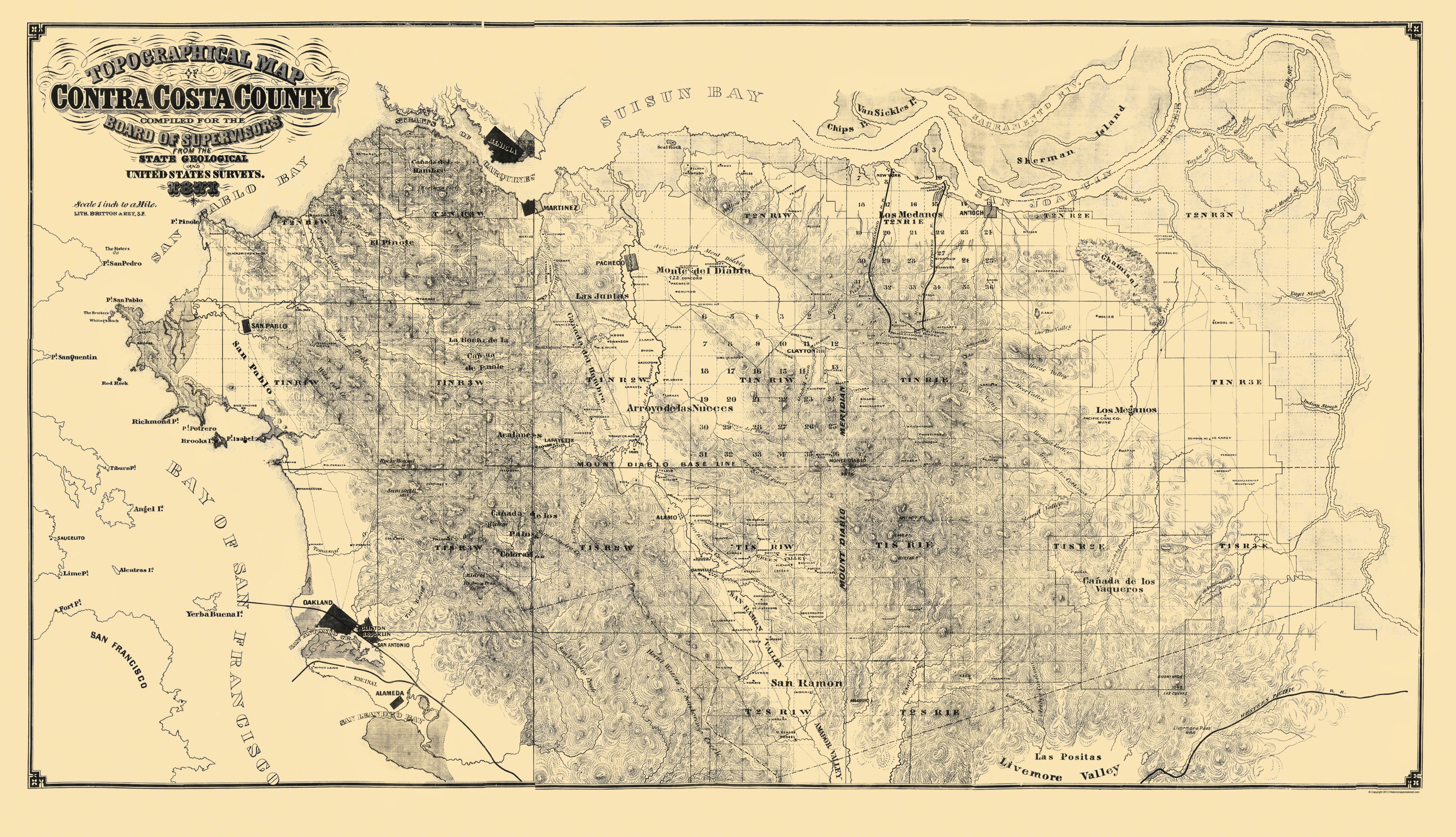 Old Topographical Map Contra Costa California - Map of contra costa county ca