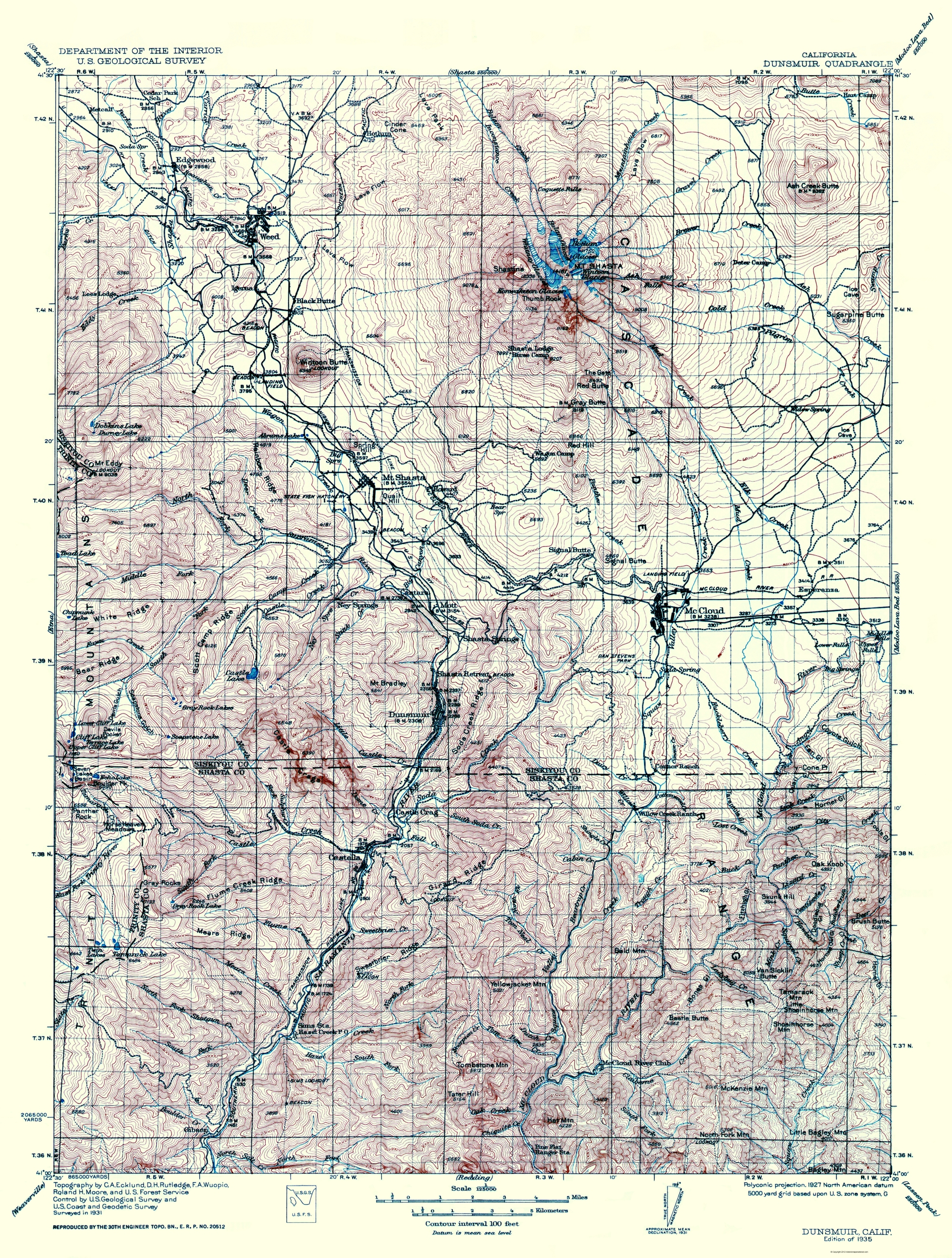 Old Topographical Map Dunsmuir California 1935