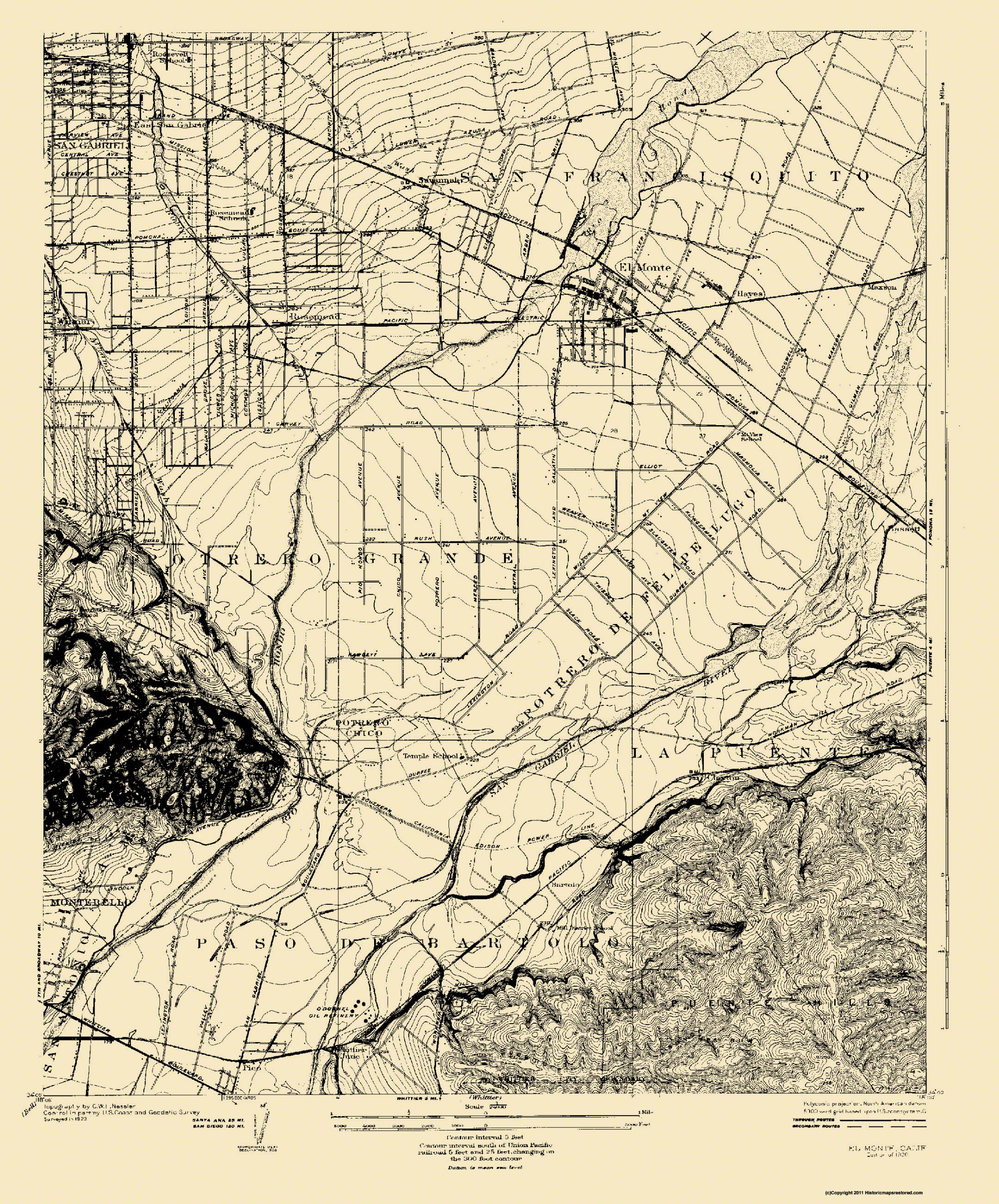 Old Topographical Map El Monte California 1926