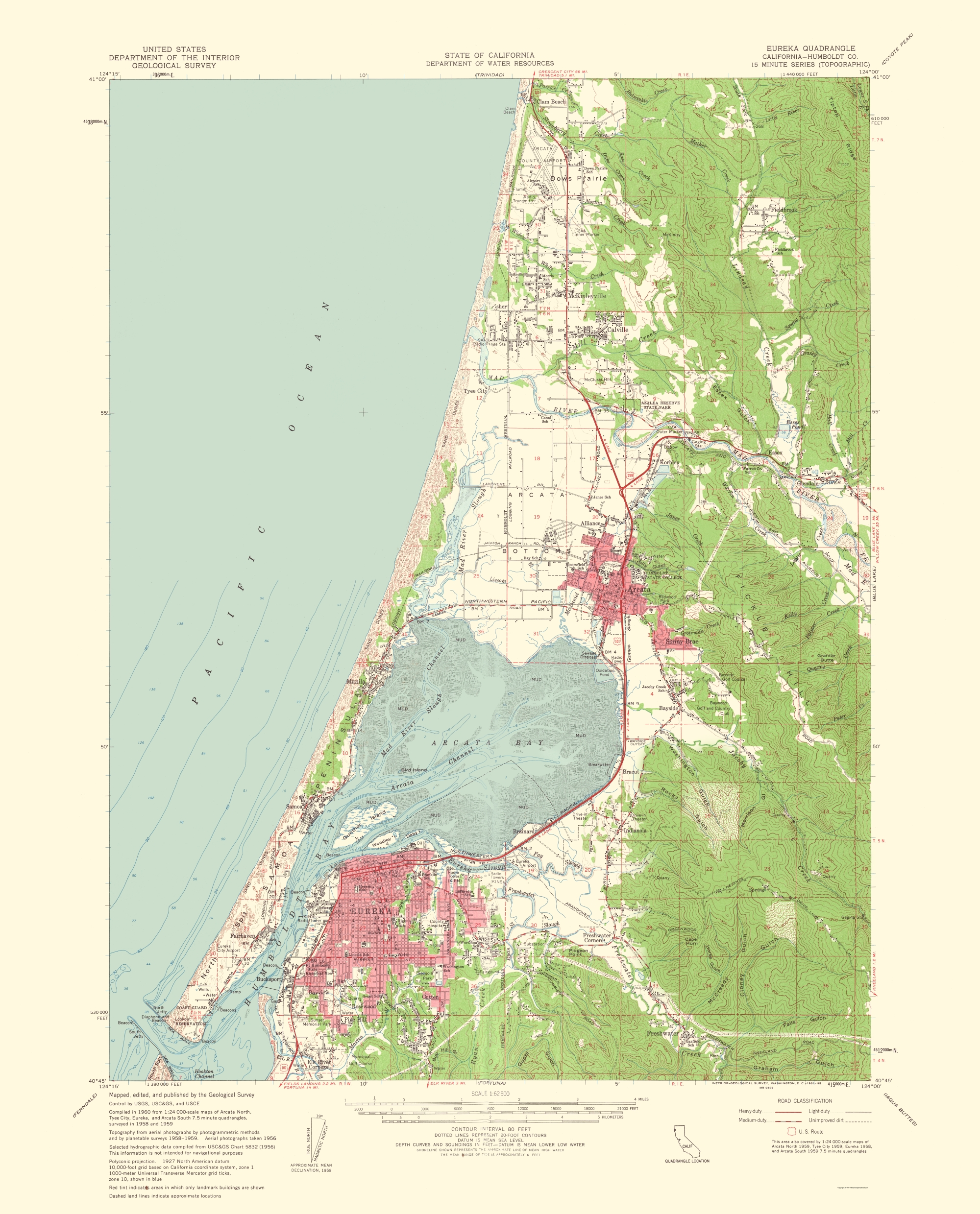 Old Topographical Map Eureka California 1961