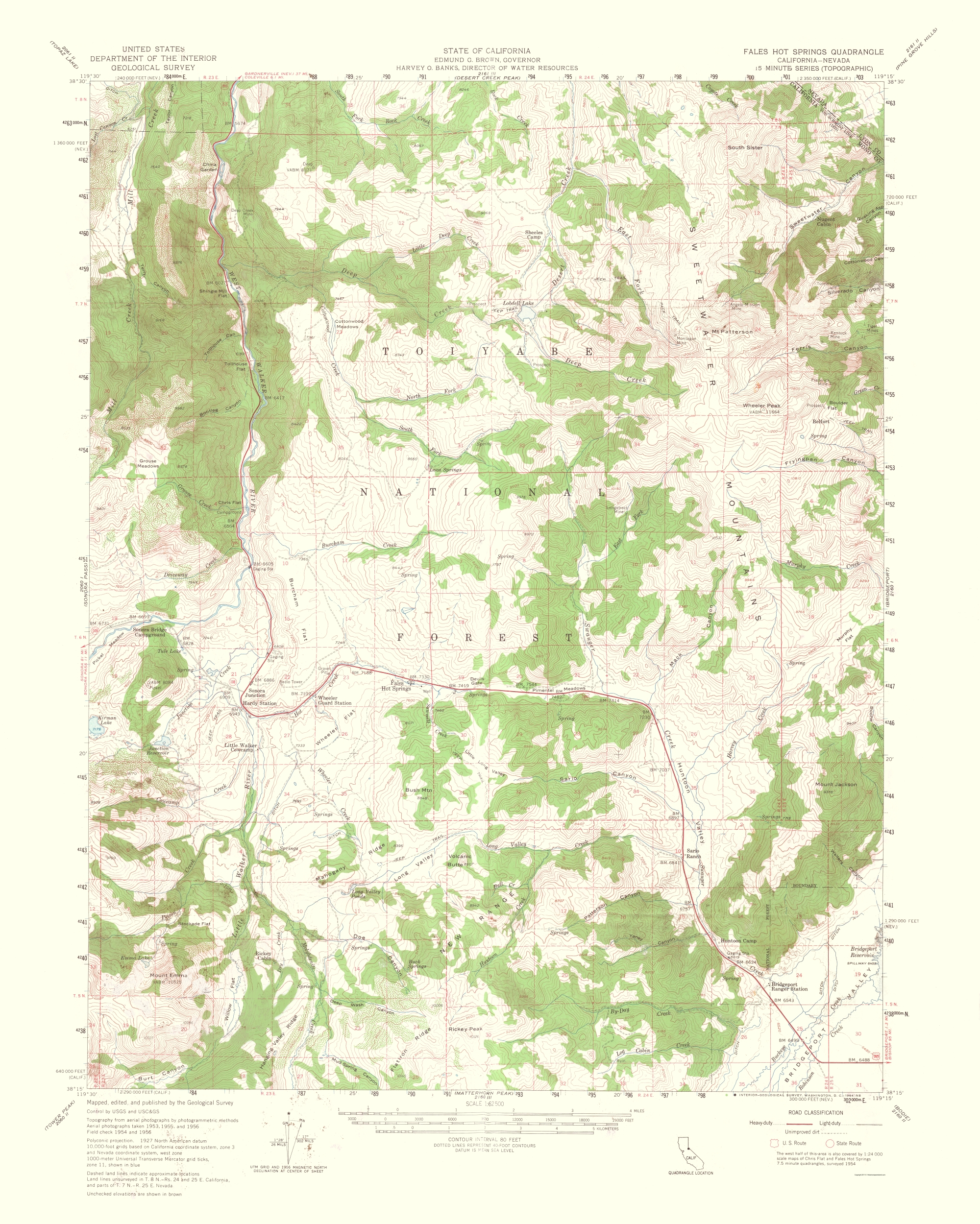 Old Topographical Map - Fales Hot Springs California 1964 on