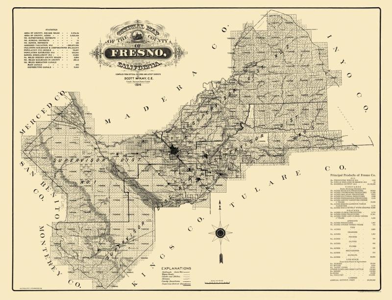 Map Of California Fresno.Old County Map Fresno California 1914 30 06 X 23