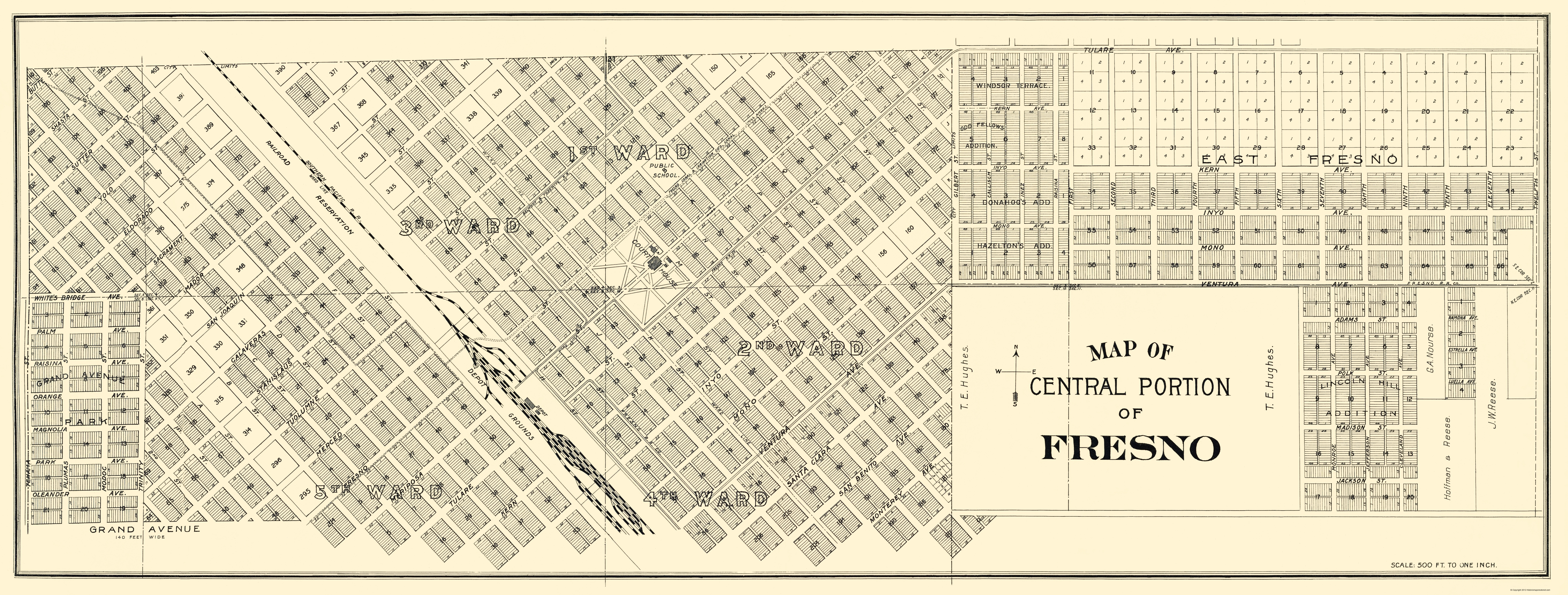 Old City Map - Fresno, Central California Landowner 1892 Map Of Fresno on