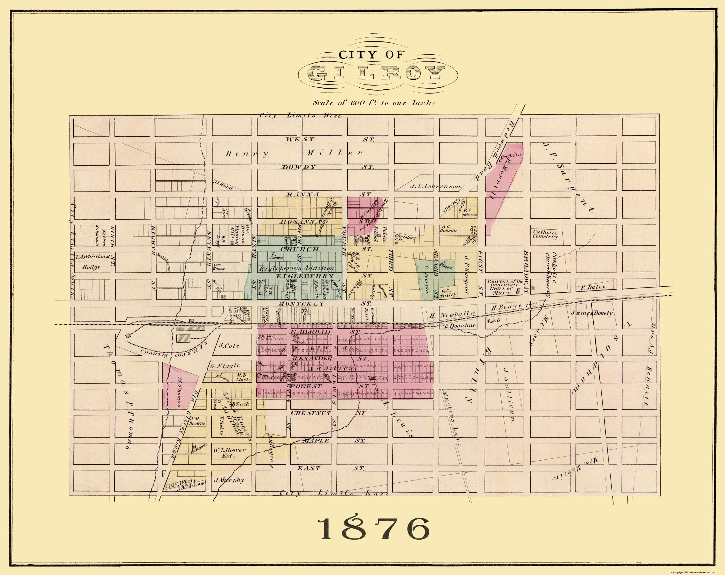 Old City Map Gilroy California Landowner 1876