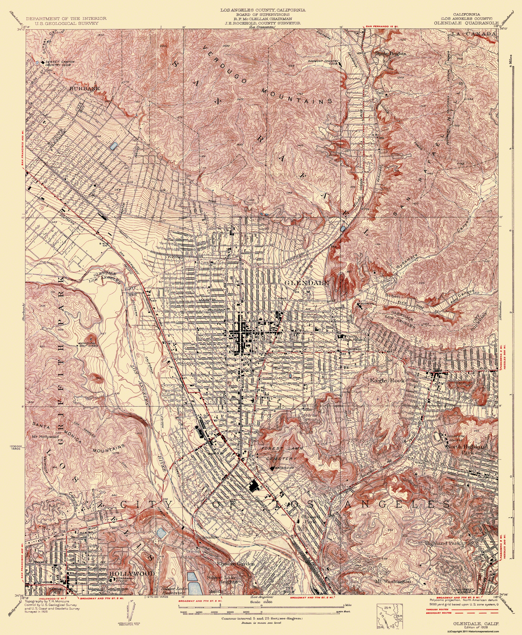 Old Topographical Map  Glendale California 1928