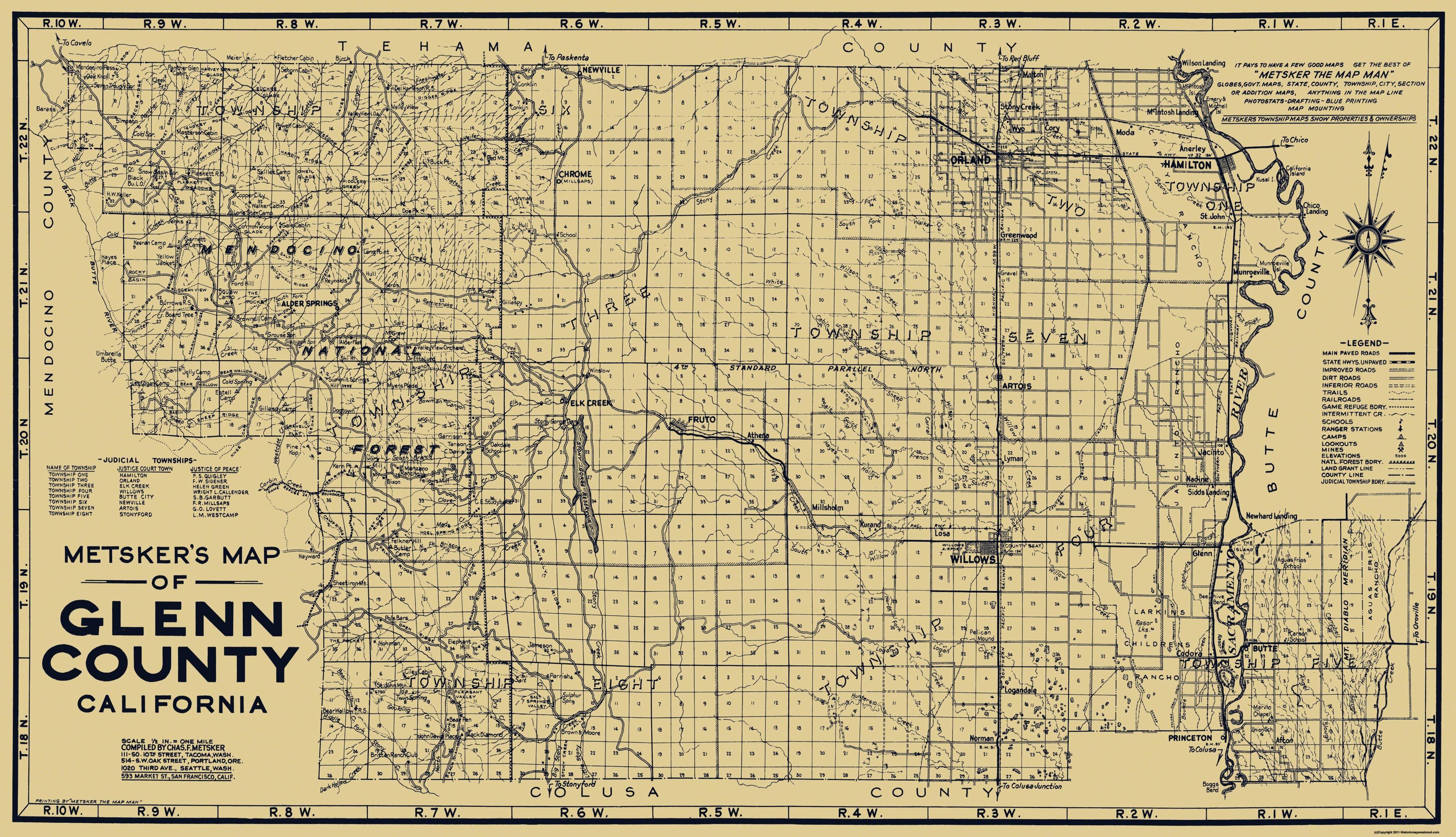 Glenn County California Map.Old County Map Glenn California Metsker 1936