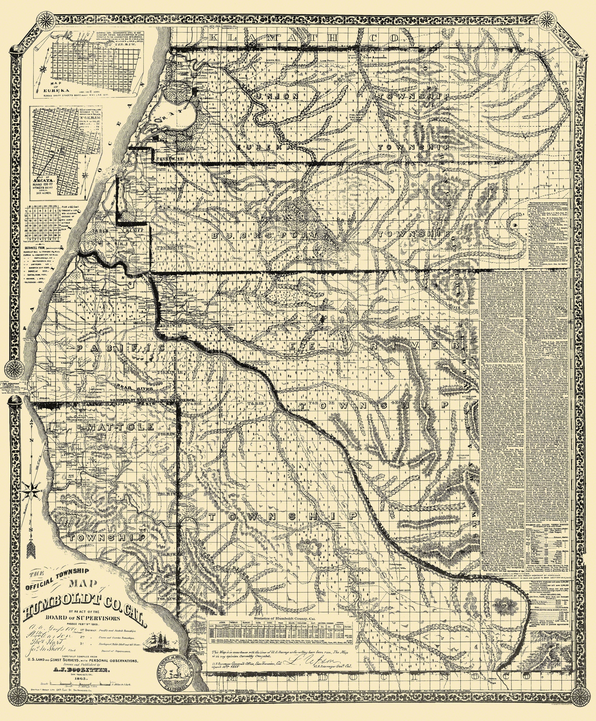 Old County Map Humboldt California Landowner 1865