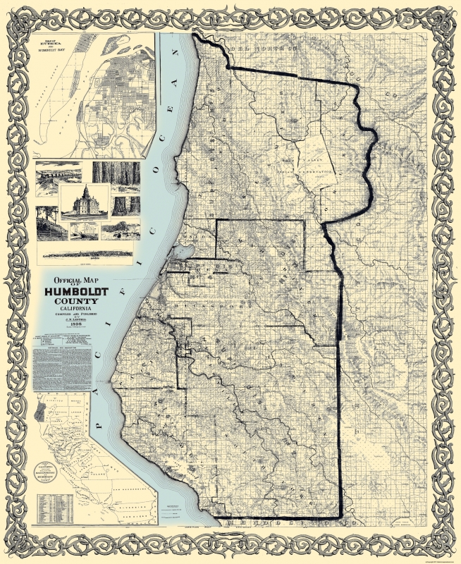 Old County Map Humboldt California Landowner 1898