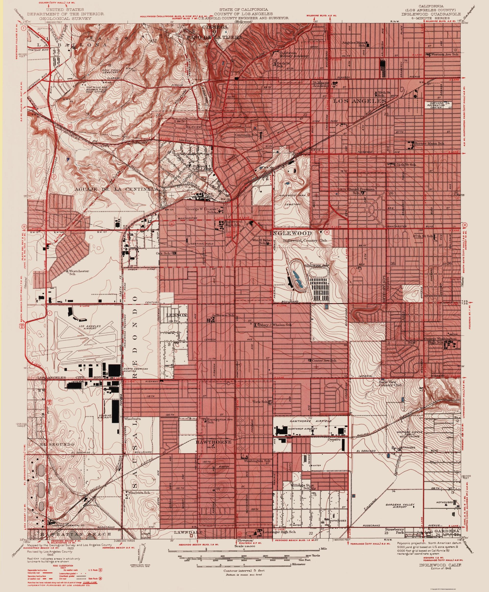 Old Topographical Map Inglewood California - Inglewood map