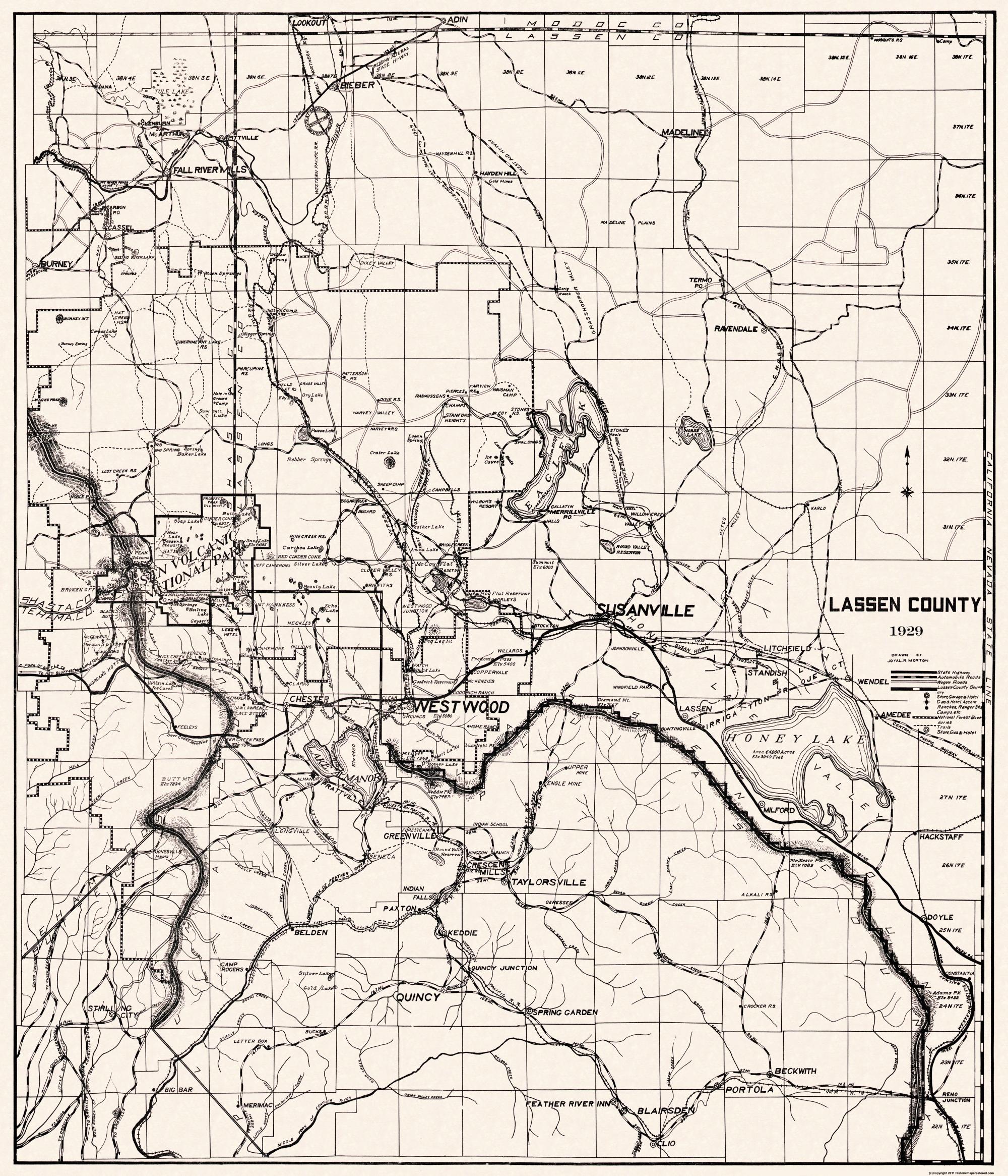 Old County Map Lassen California 1929