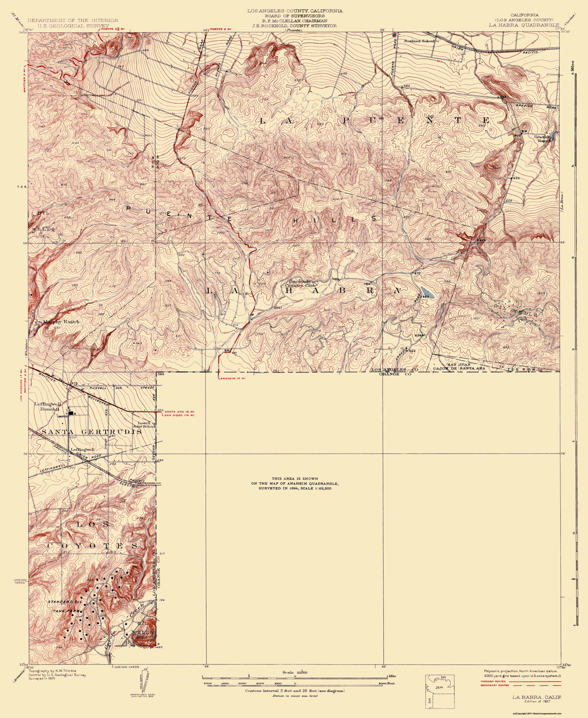 Old Topographical Map La Habra California 1927