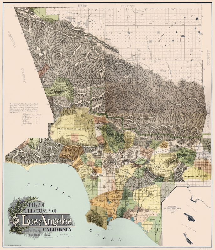 Map Of California Los Angeles.Old County Map Los Angeles California 1898 23 X 26 81